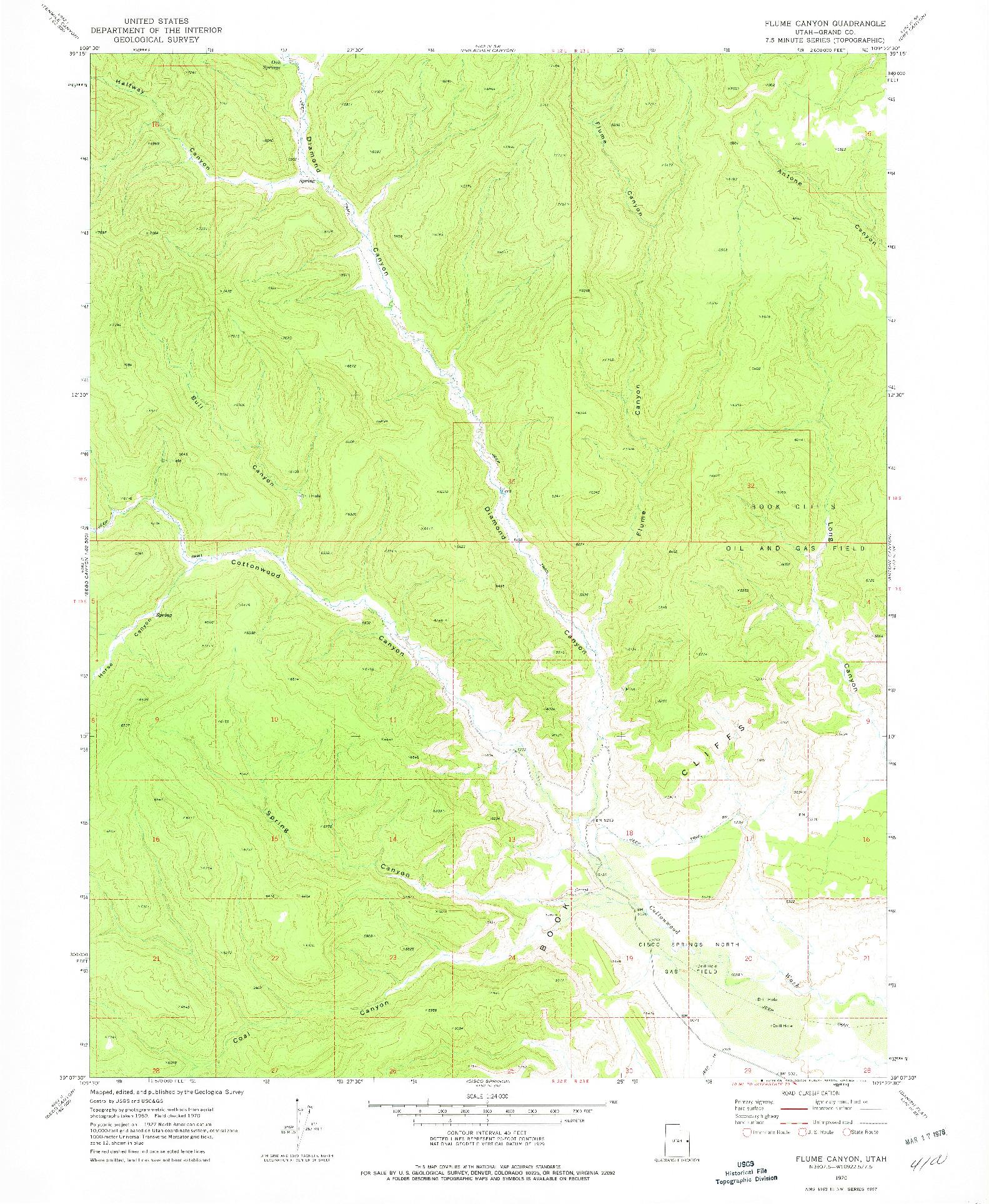 USGS 1:24000-SCALE QUADRANGLE FOR FLUME CANYON, UT 1970