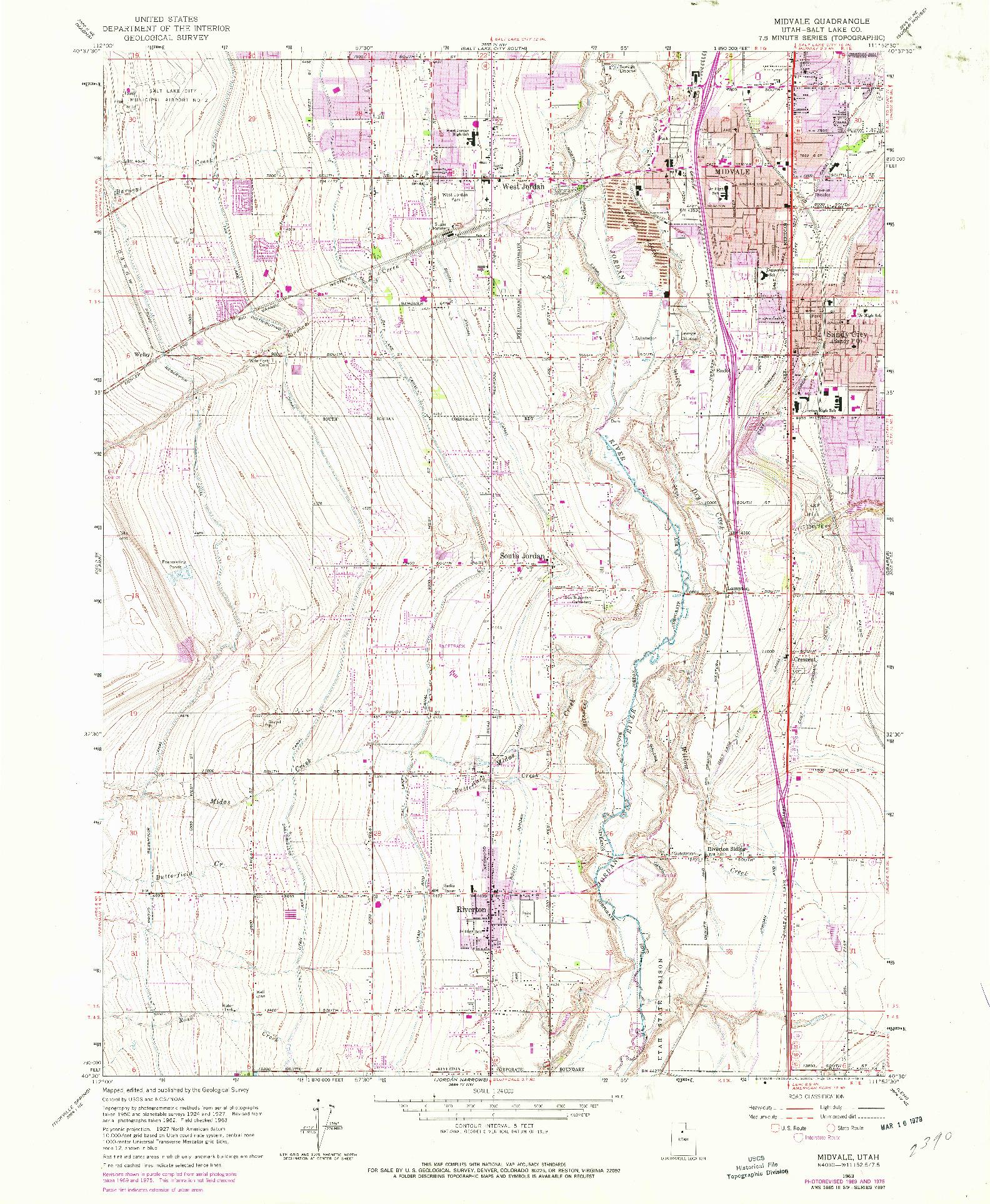 USGS 1:24000-SCALE QUADRANGLE FOR MIDVALE, UT 1963