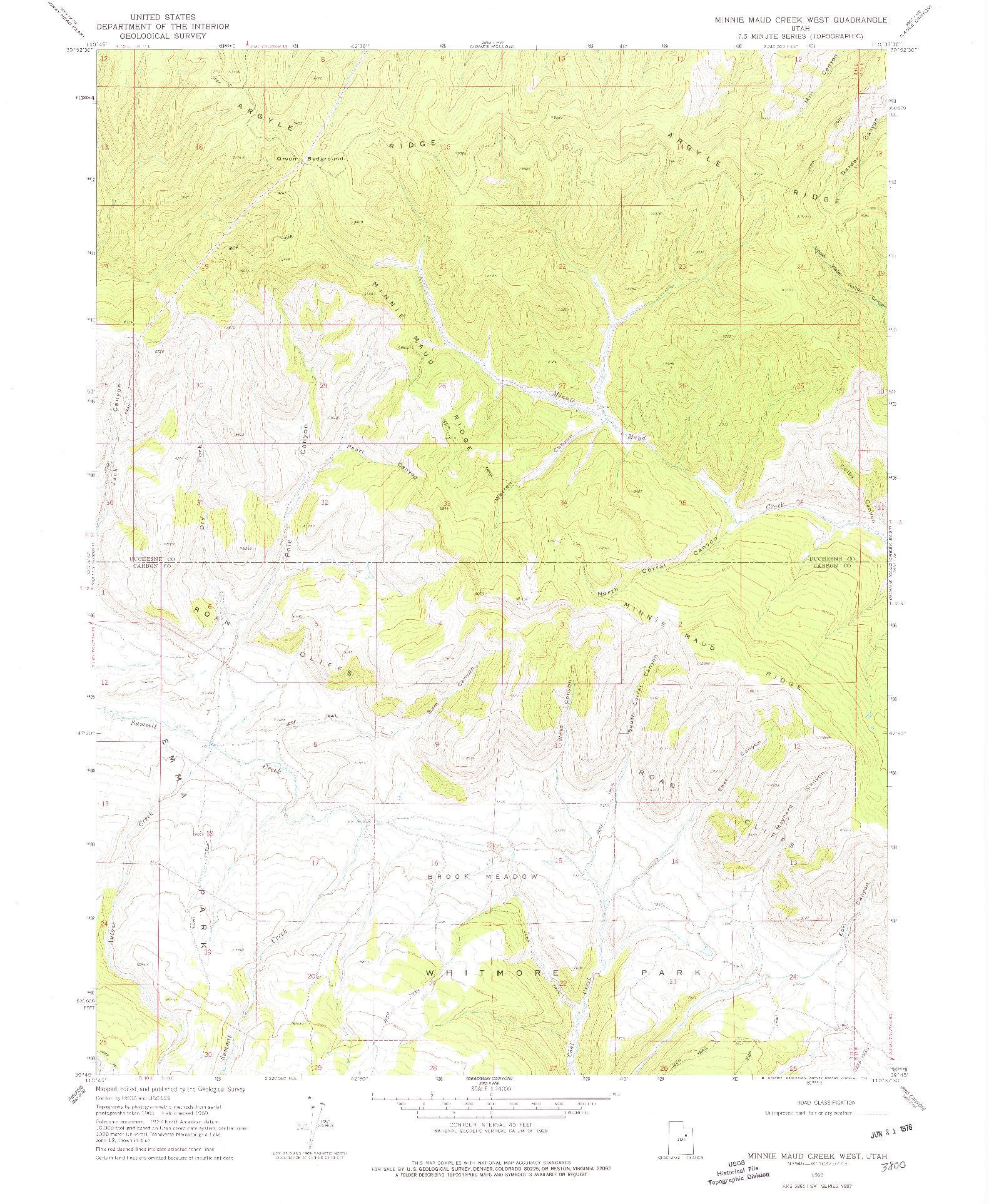 USGS 1:24000-SCALE QUADRANGLE FOR MINNIE MAUD CREEK WEST, UT 1969