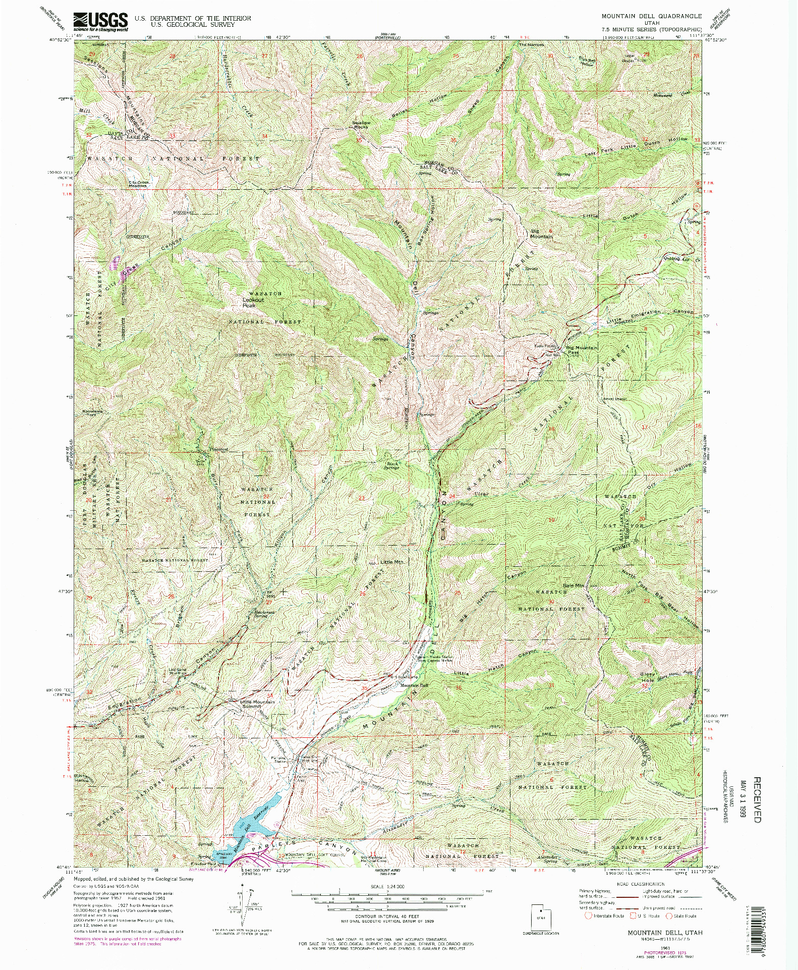 USGS 1:24000-SCALE QUADRANGLE FOR MOUNTAIN DELL, UT 1961