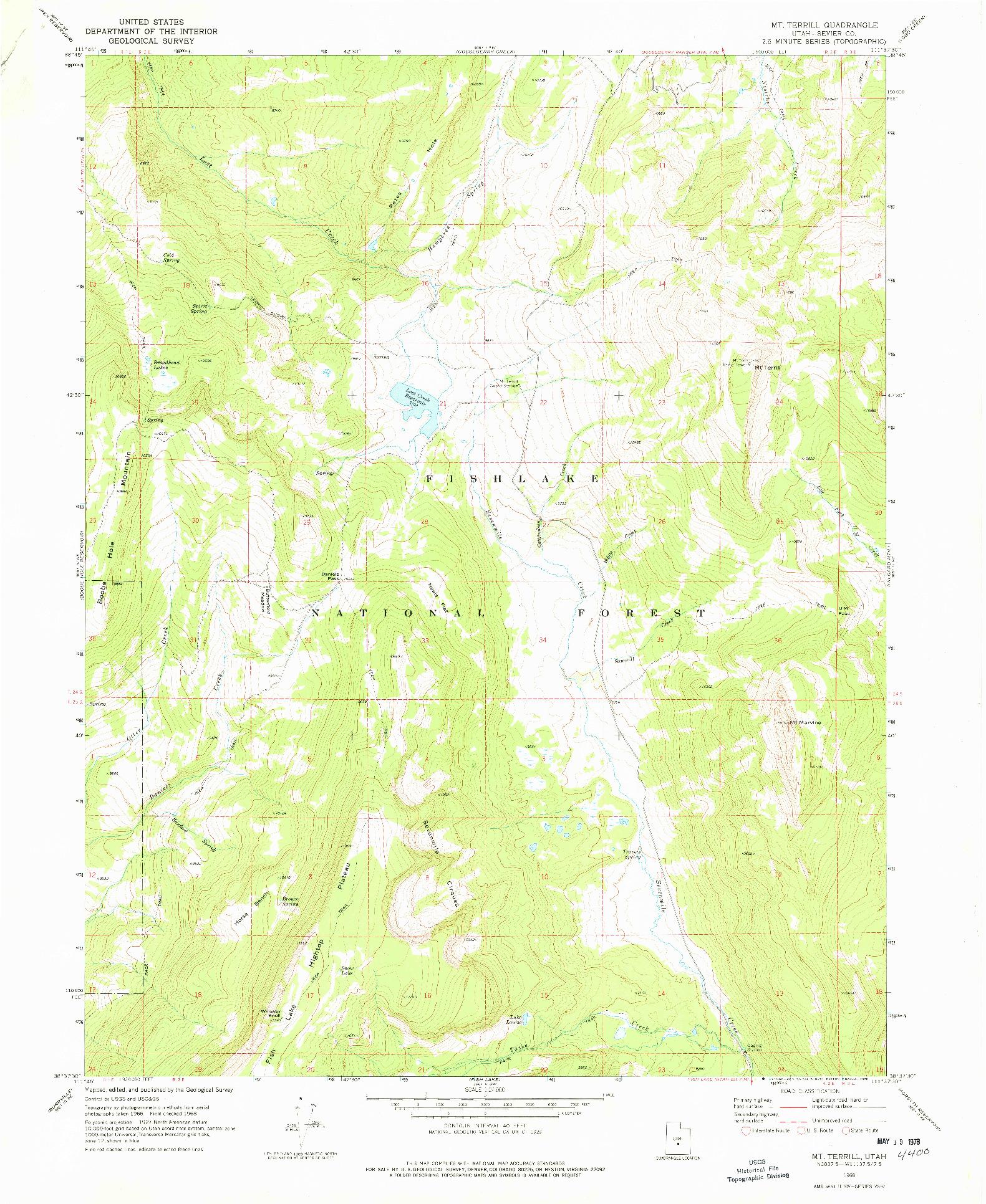 USGS 1:24000-SCALE QUADRANGLE FOR MT TERRILL, UT 1968