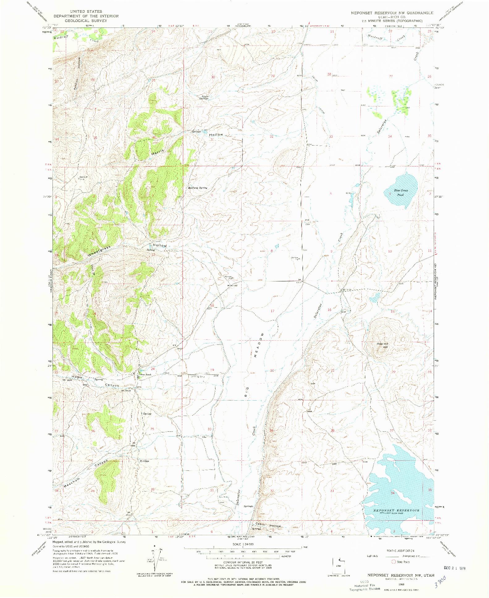 USGS 1:24000-SCALE QUADRANGLE FOR NEPONSET RESERVOIR NW, UT 1968
