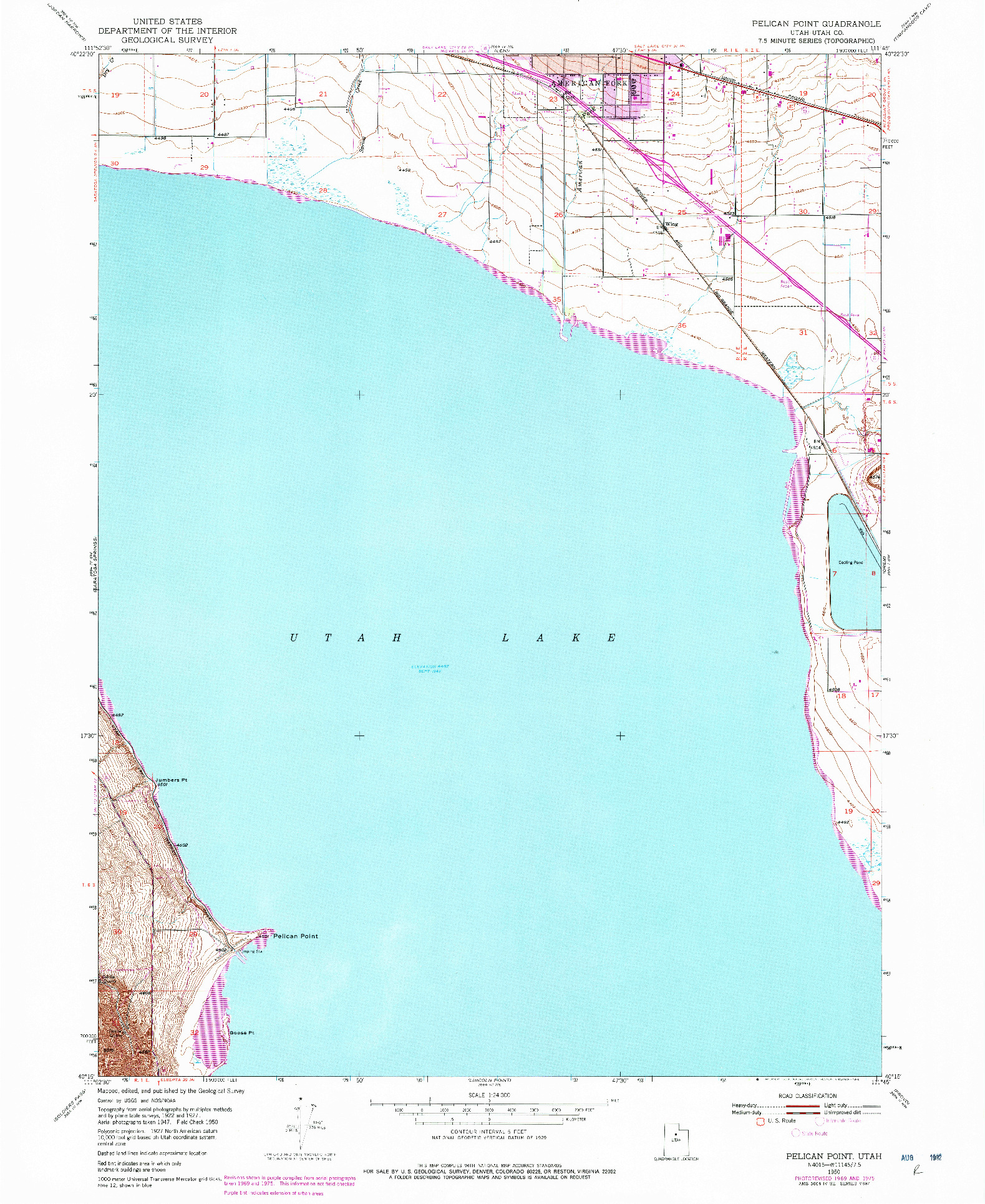 USGS 1:24000-SCALE QUADRANGLE FOR PELICAN POINT, UT 1950