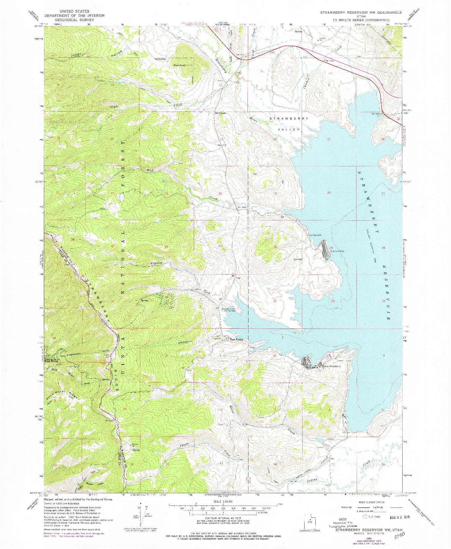 USGS 1:24000-SCALE QUADRANGLE FOR STRAWBERRY RESERVOIR NW, UT 1966