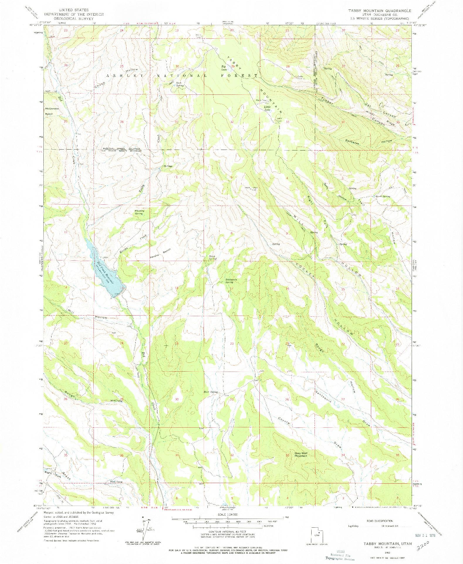 USGS 1:24000-SCALE QUADRANGLE FOR TABBY MOUNTAIN, UT 1962