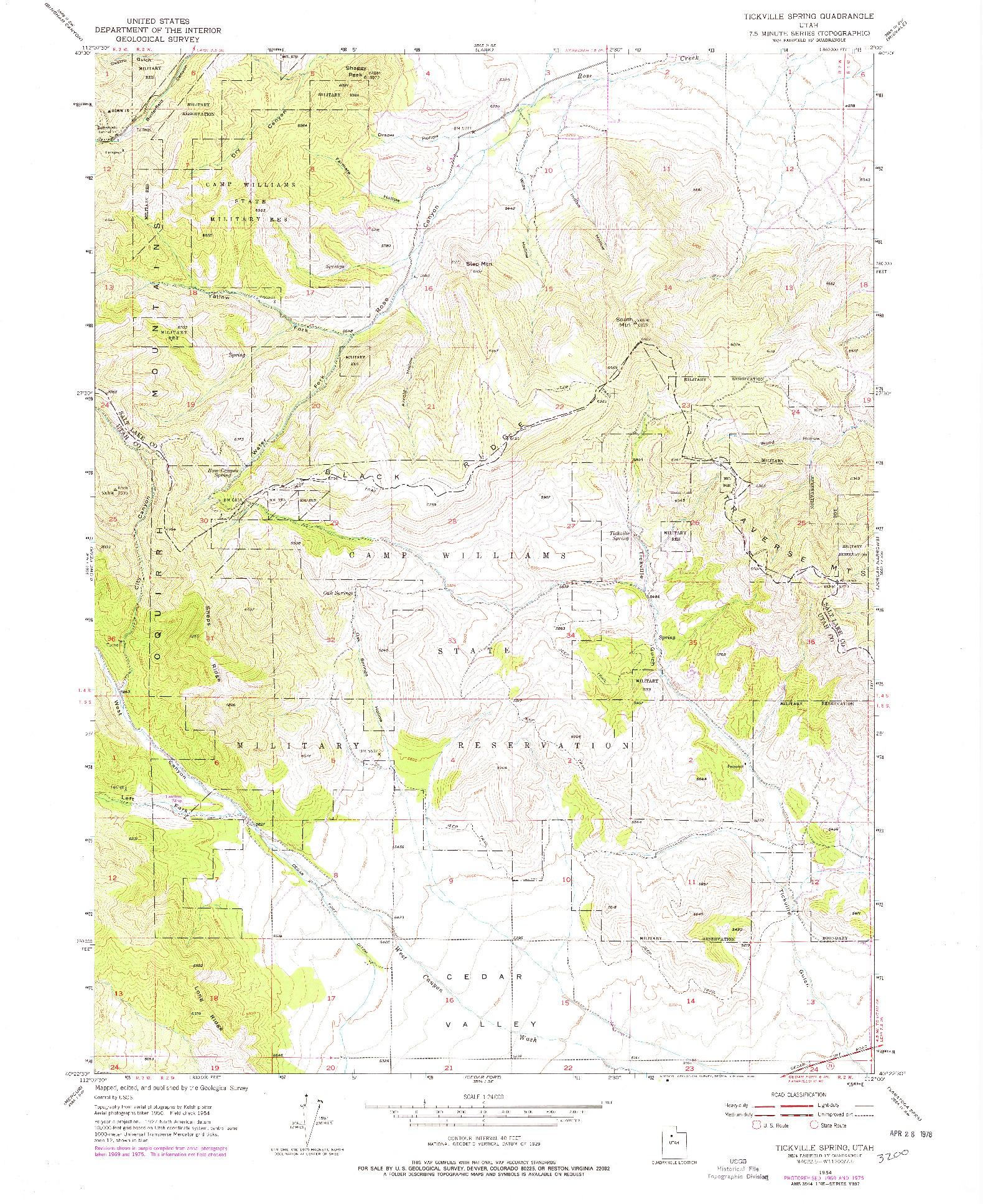 USGS 1:24000-SCALE QUADRANGLE FOR TICKVILLE SPRING, UT 1954