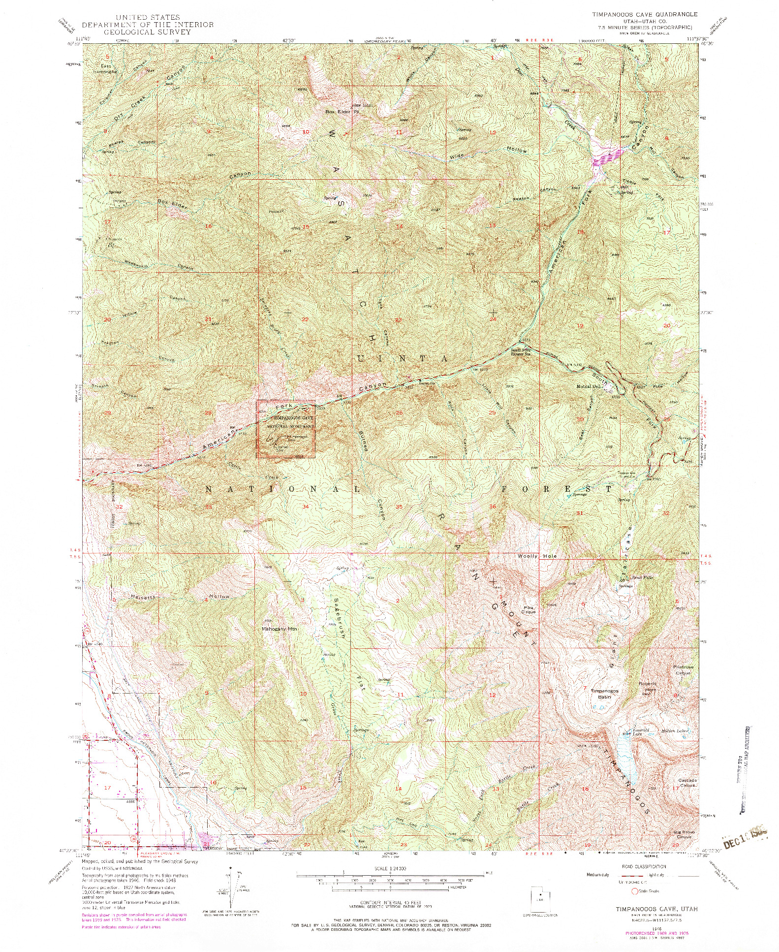 USGS 1:24000-SCALE QUADRANGLE FOR TIMPANOGOS CAVE, UT 1948