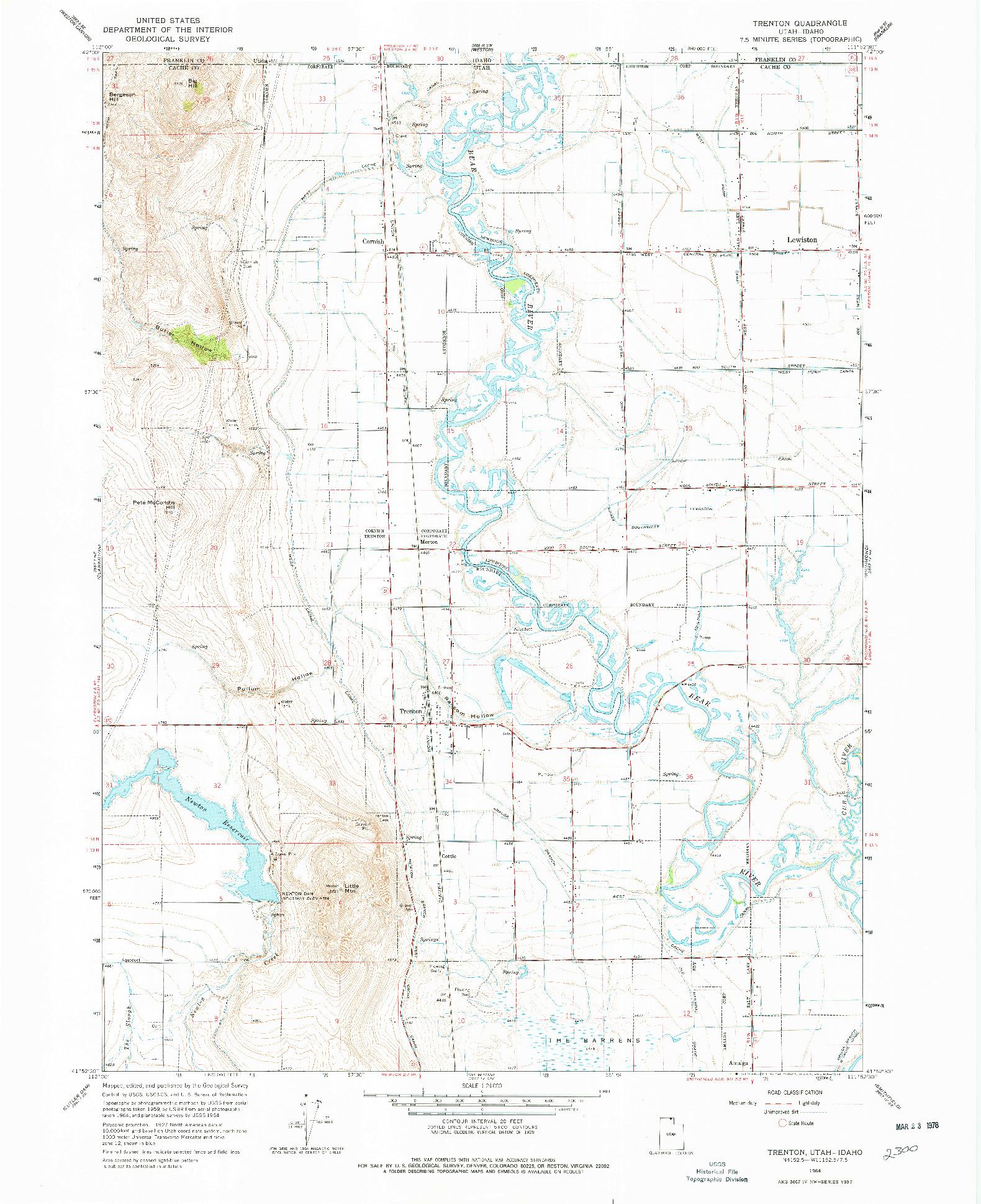 USGS 1:24000-SCALE QUADRANGLE FOR TRENTON, UT 1964