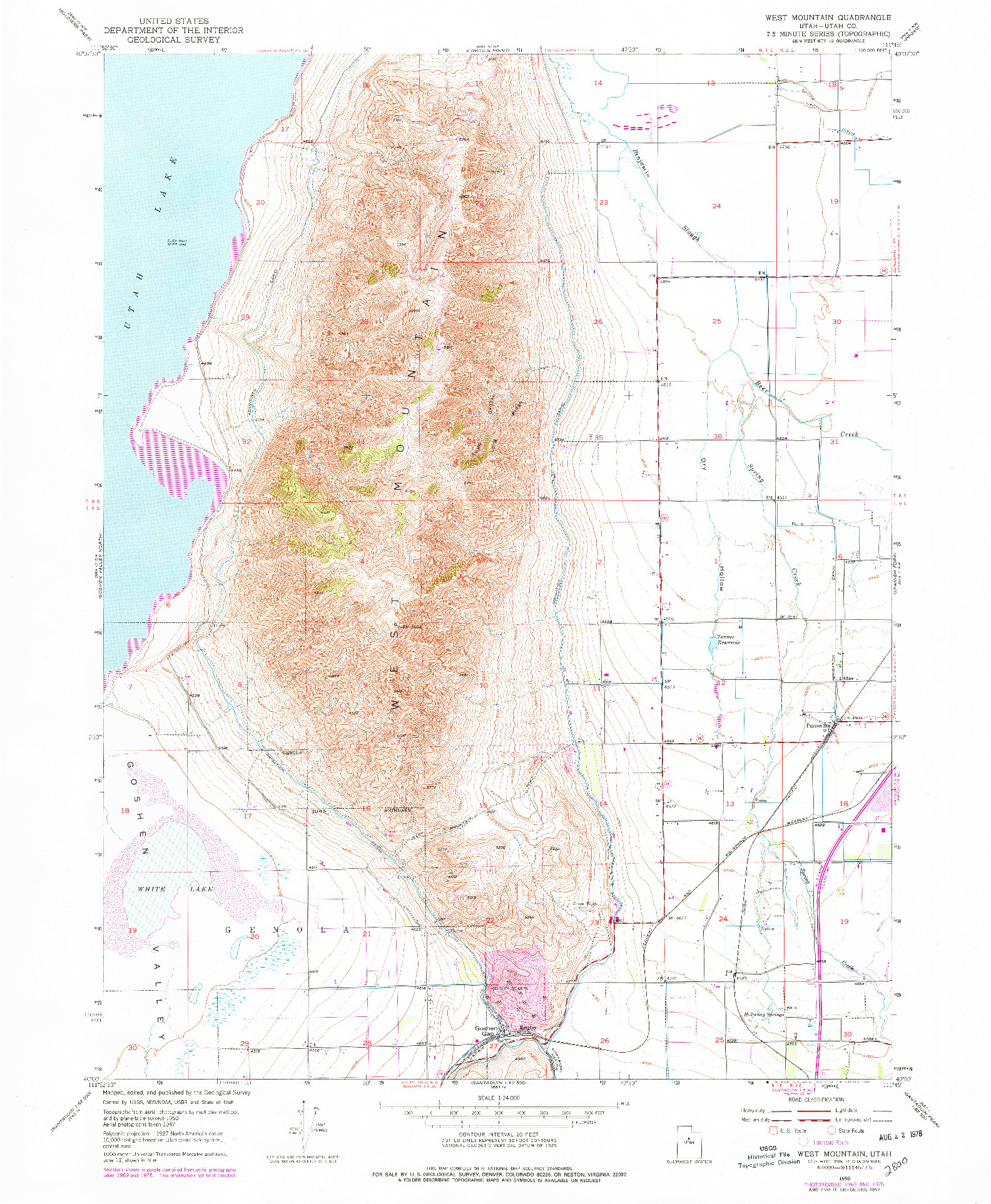 USGS 1:24000-SCALE QUADRANGLE FOR WEST MOUNTAIN, UT 1950