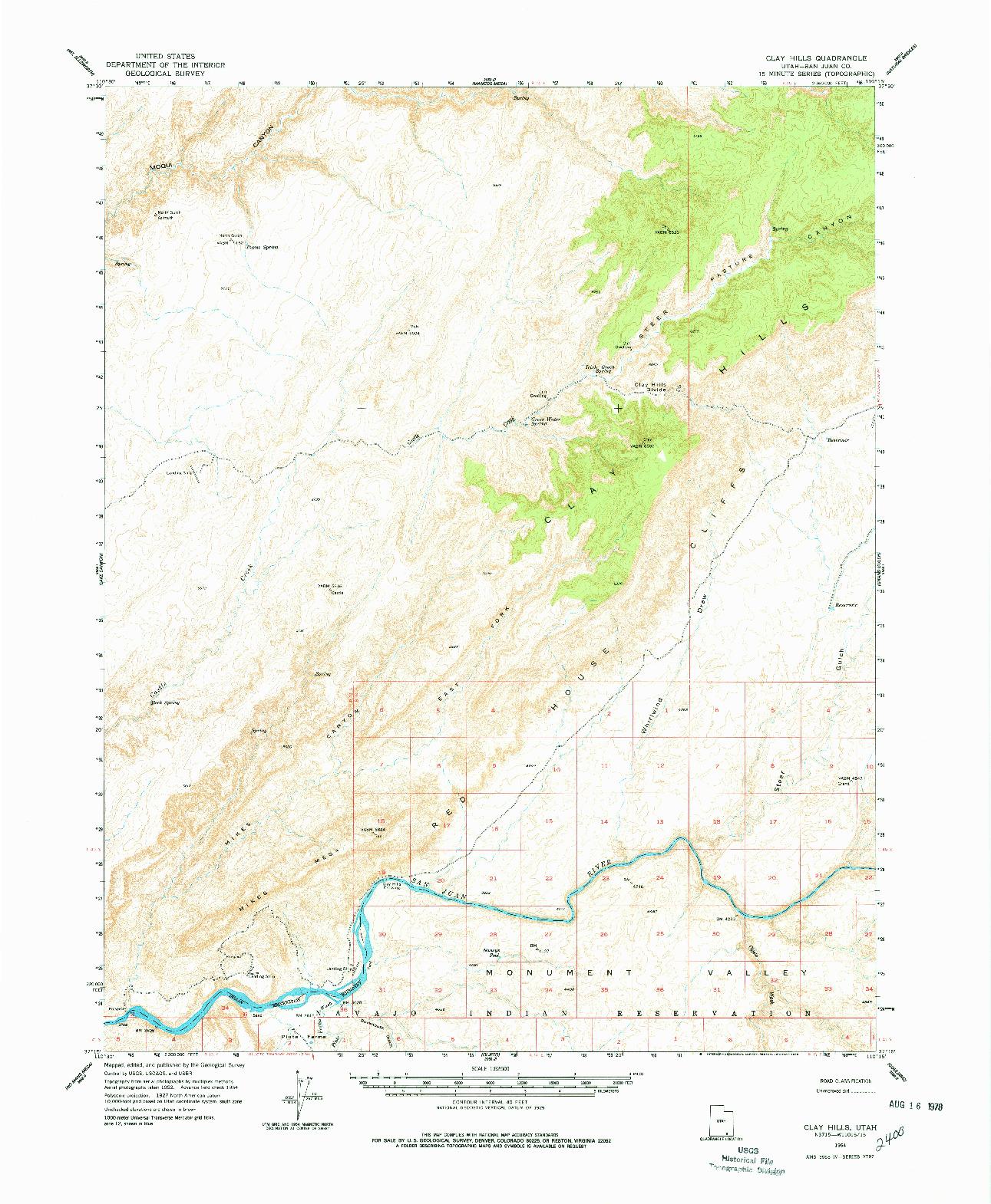 USGS 1:62500-SCALE QUADRANGLE FOR CLAY HILLS, UT 1954