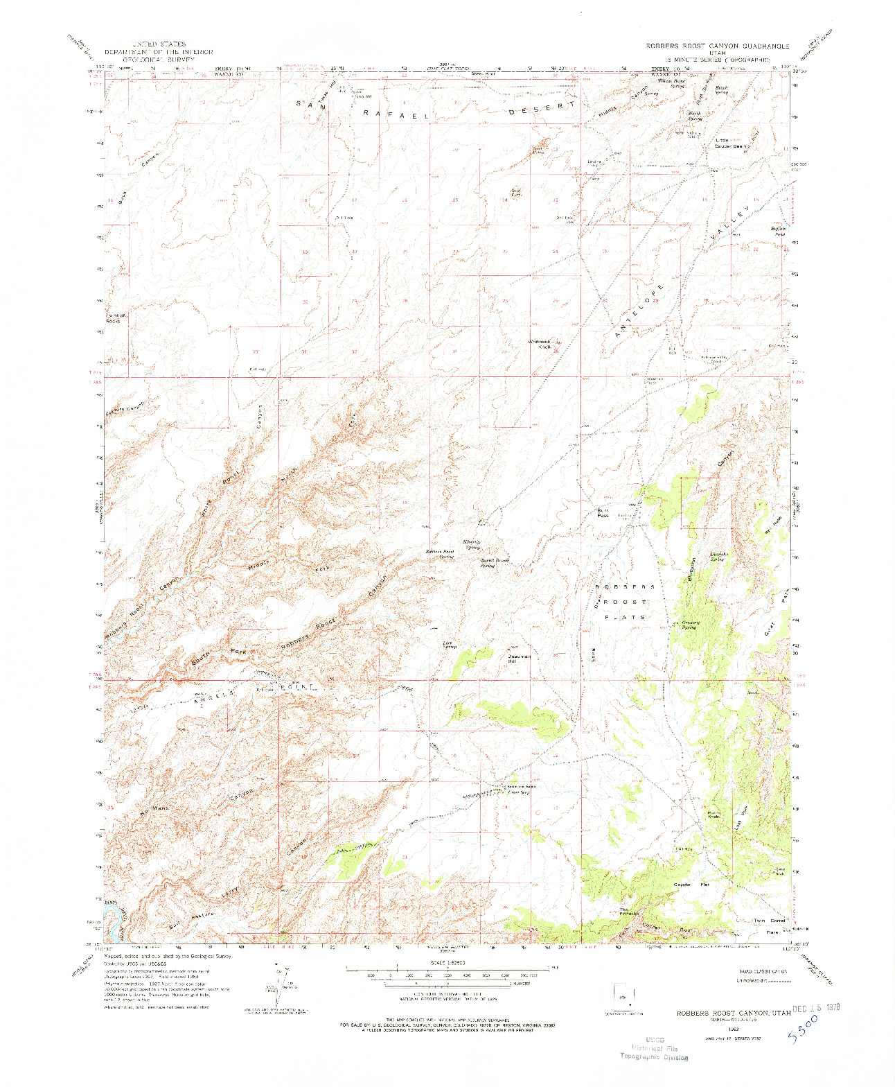 USGS 1:62500-SCALE QUADRANGLE FOR ROBBERS ROOST CANYON, UT 1963