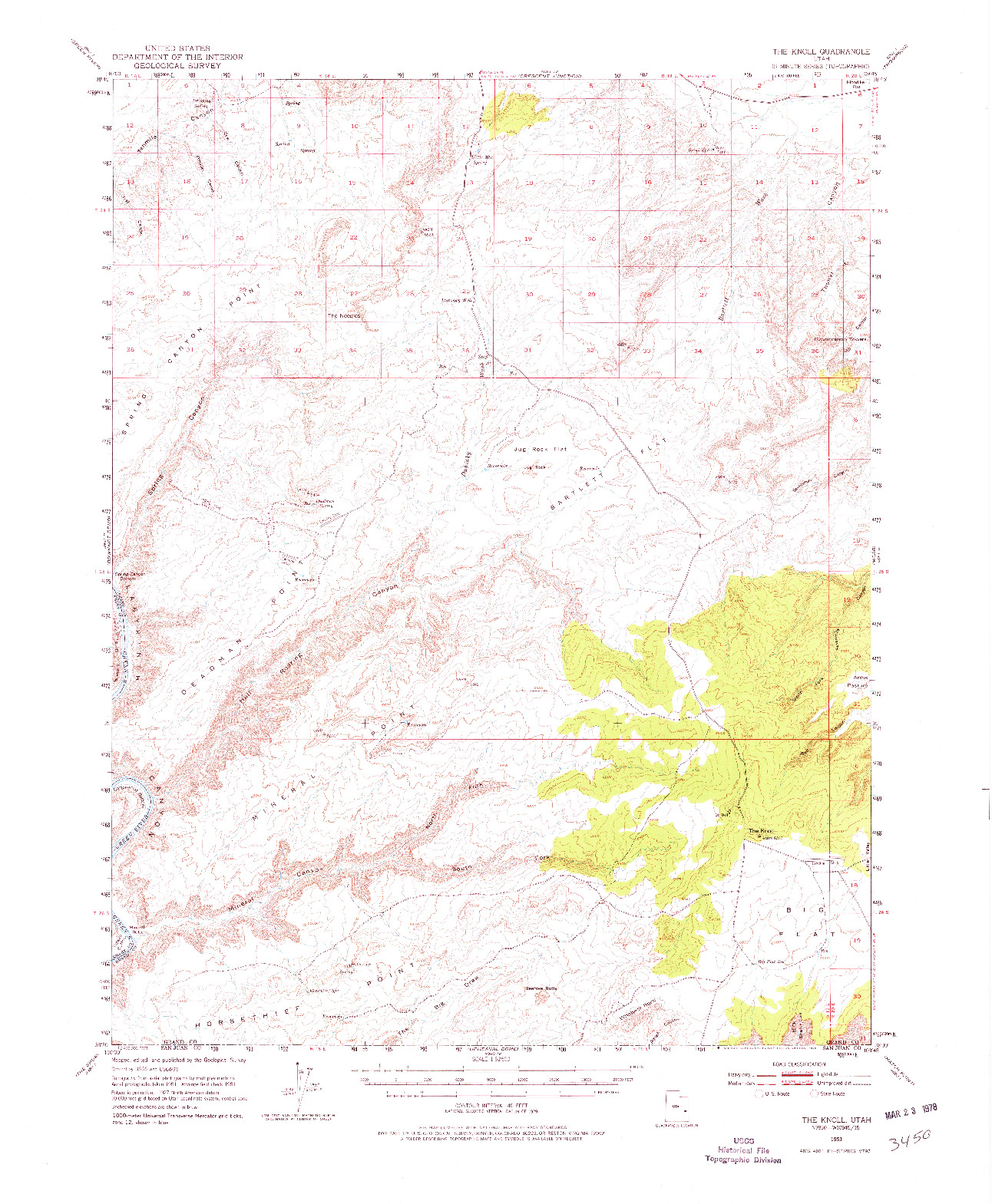 USGS 1:62500-SCALE QUADRANGLE FOR THE KNOLL, UT 1951