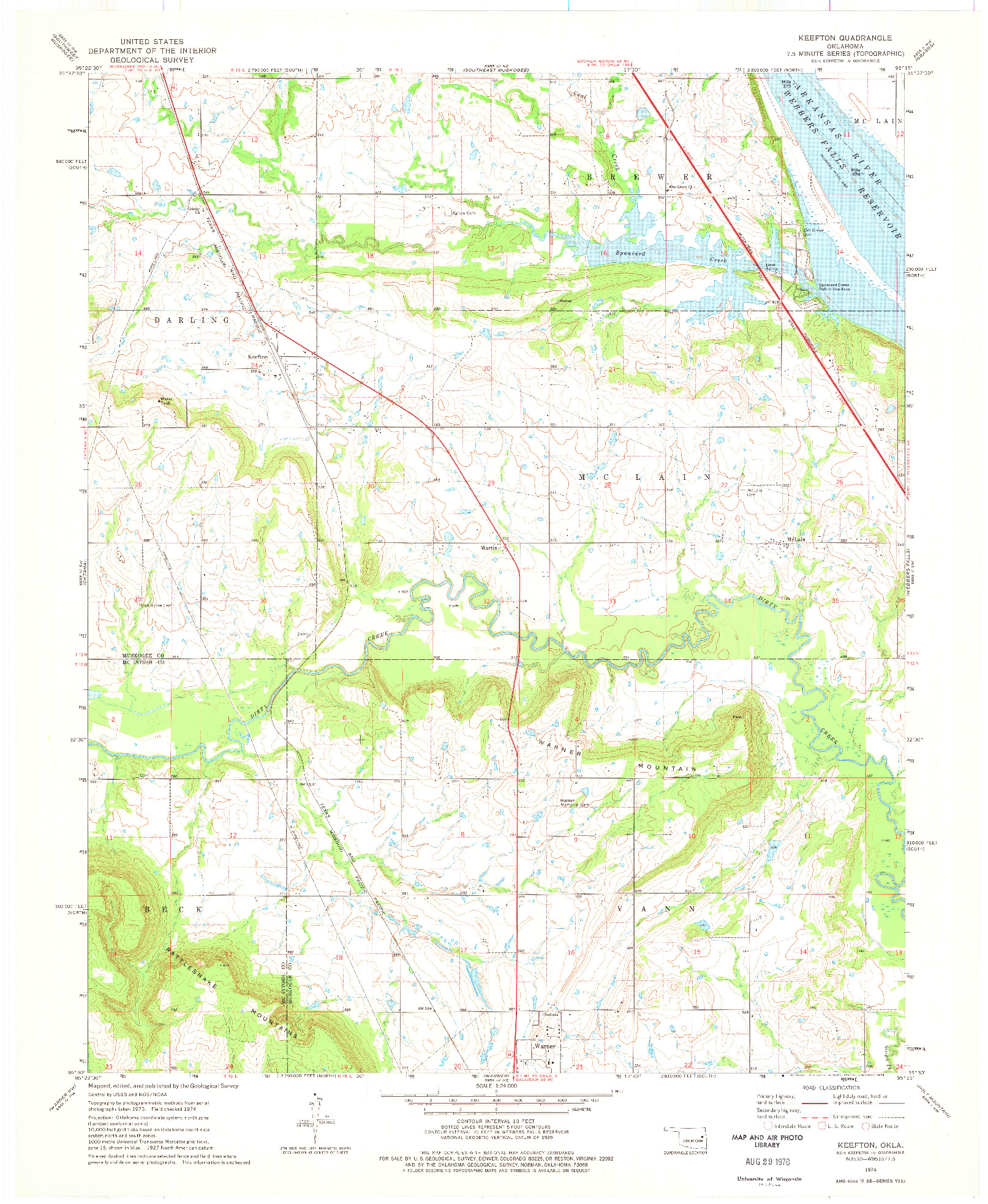 USGS 1:24000-SCALE QUADRANGLE FOR KEEFTON, OK 1974