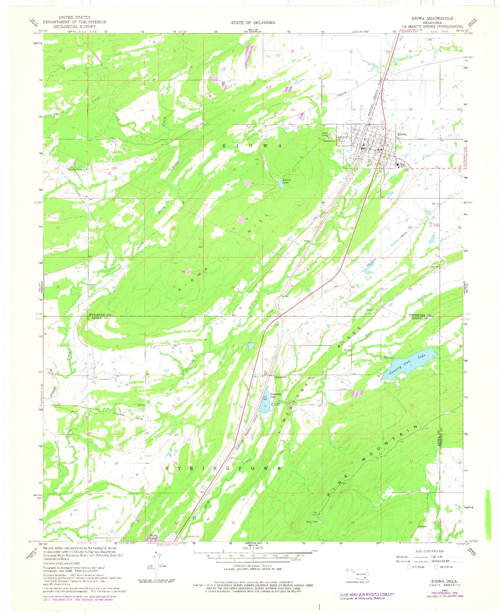 USGS 1:24000-SCALE QUADRANGLE FOR KIOWA, OK 1967