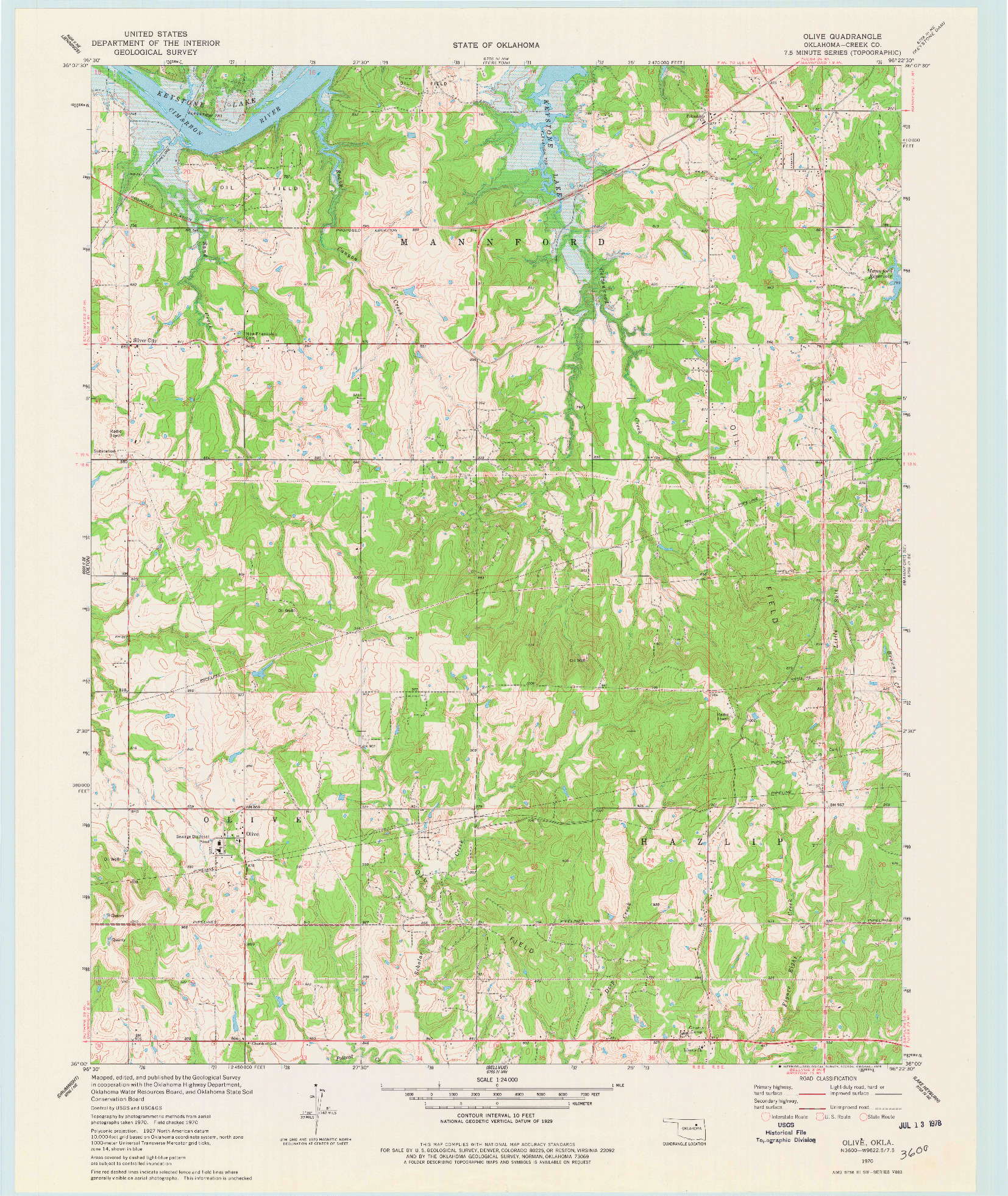 USGS 1:24000-SCALE QUADRANGLE FOR OLIVE, OK 1970