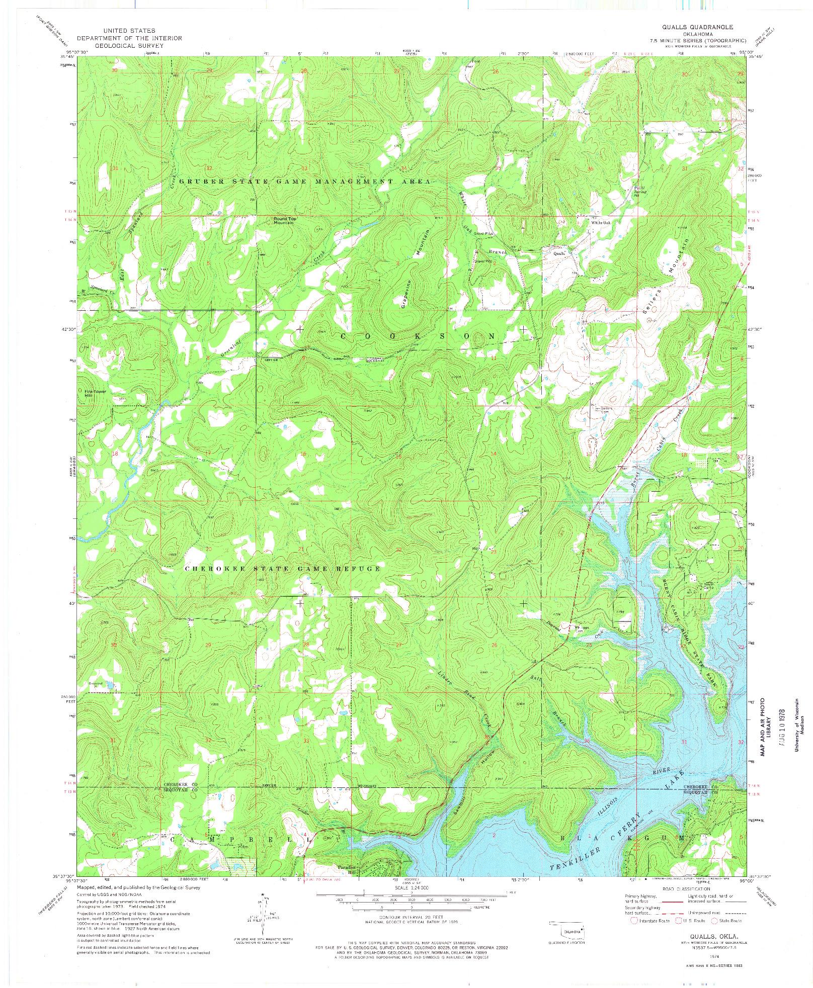 USGS 1:24000-SCALE QUADRANGLE FOR QUALLS, OK 1974