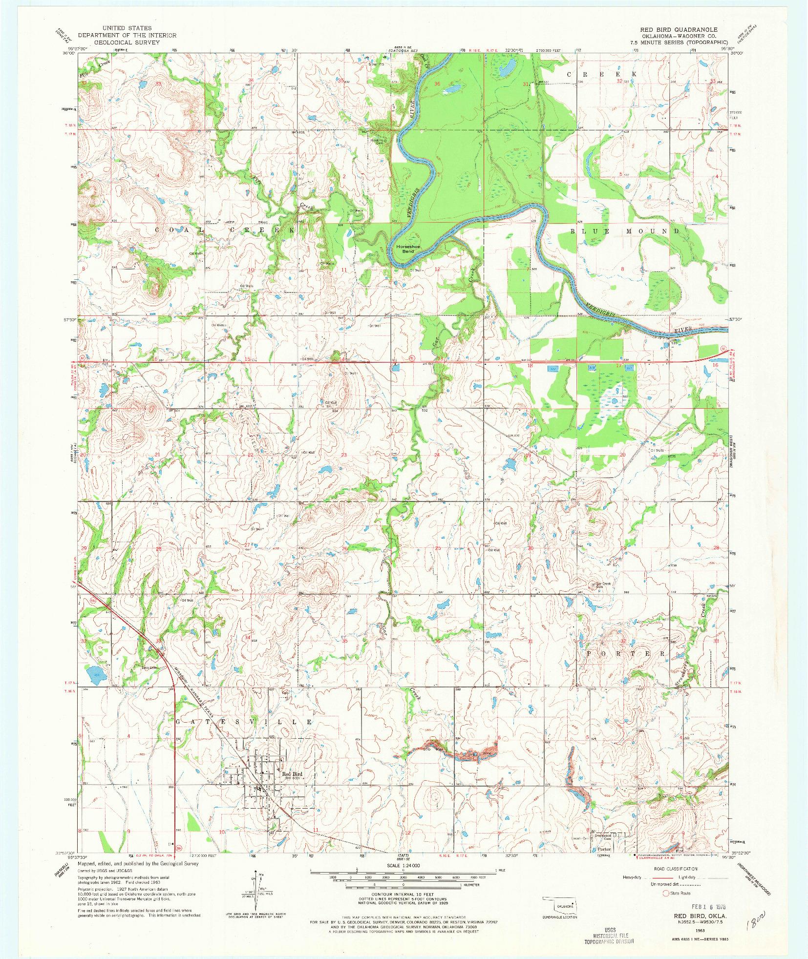 USGS 1:24000-SCALE QUADRANGLE FOR RED BIRD, OK 1963