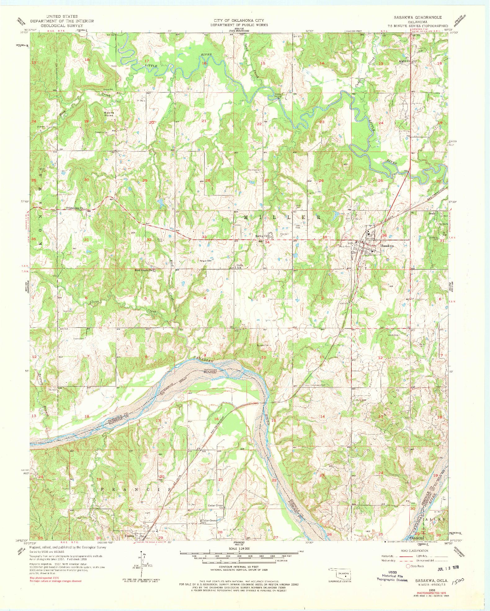 USGS 1:24000-SCALE QUADRANGLE FOR SASAKWA, OK 1958