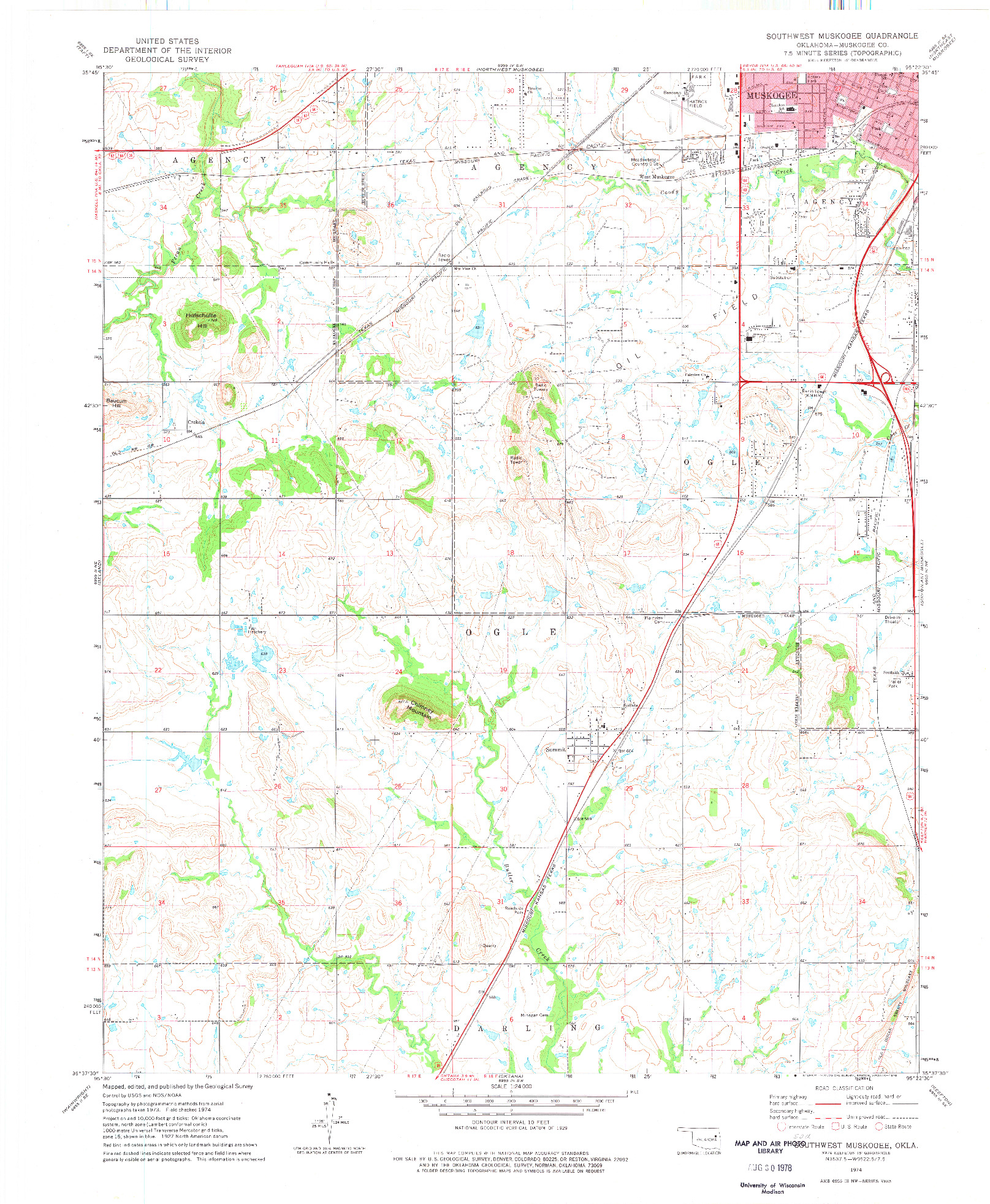 USGS 1:24000-SCALE QUADRANGLE FOR SOUTHWEST MUSKOGEE, OK 1974