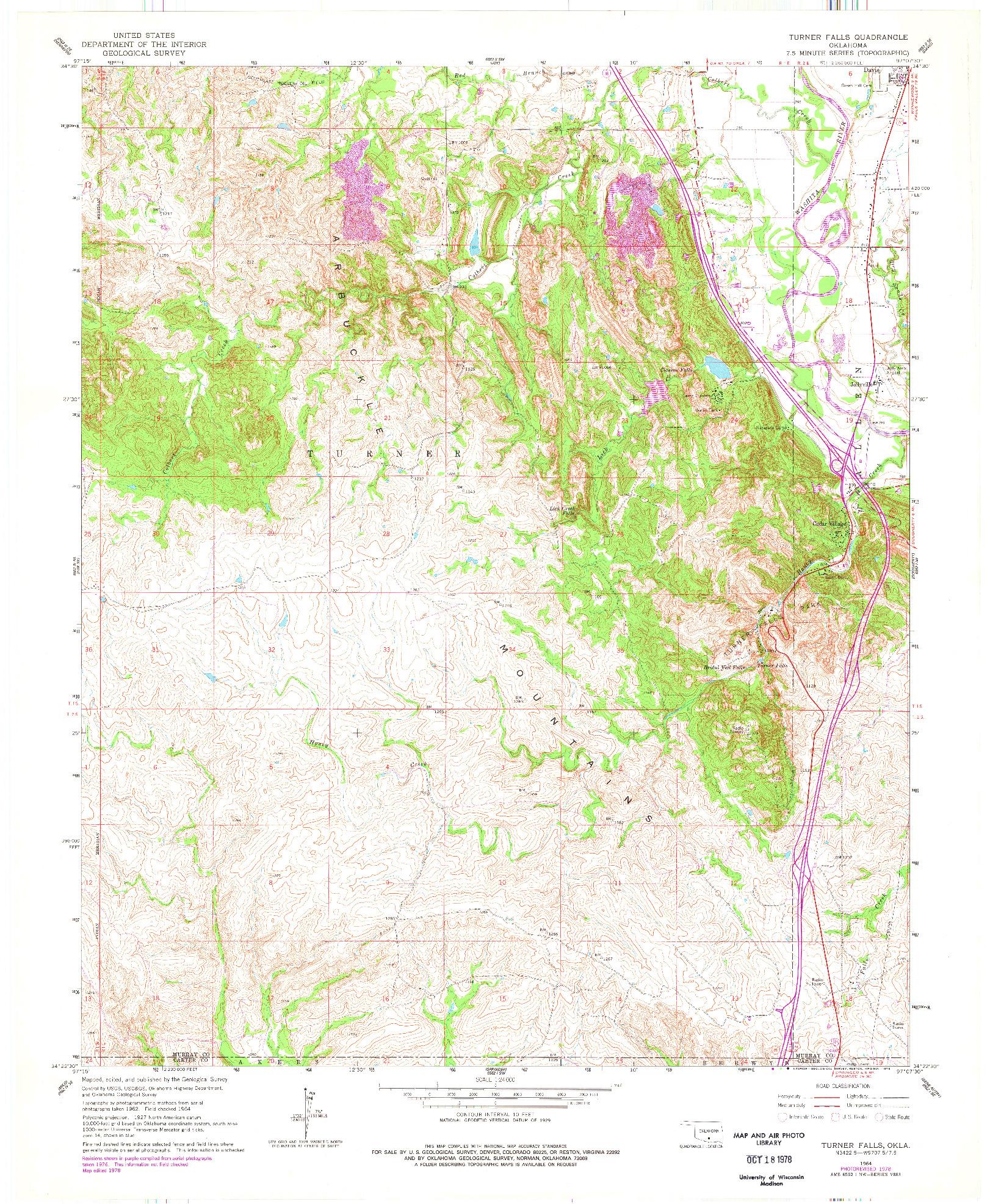 USGS 1:24000-SCALE QUADRANGLE FOR TURNER FALLS, OK 1964