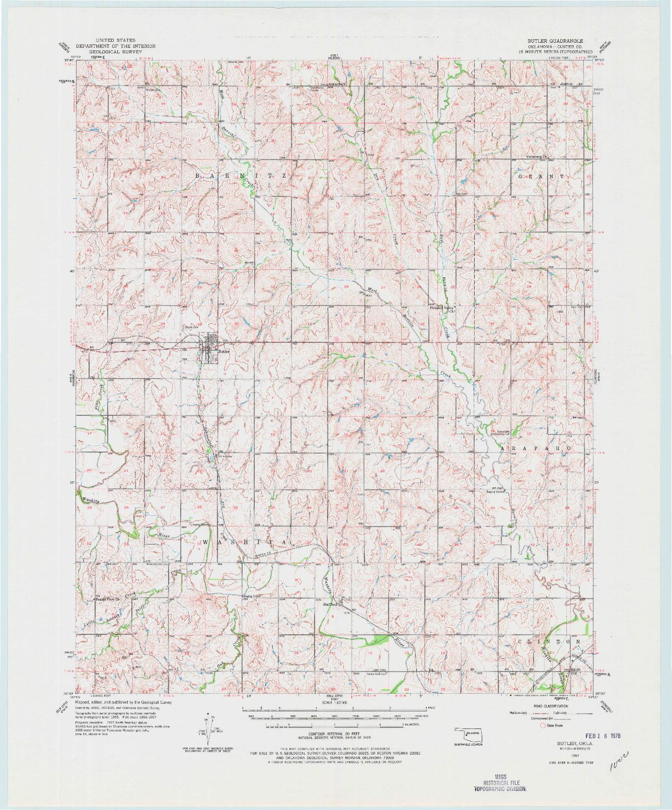 USGS 1:62500-SCALE QUADRANGLE FOR BUTLER, OK 1957