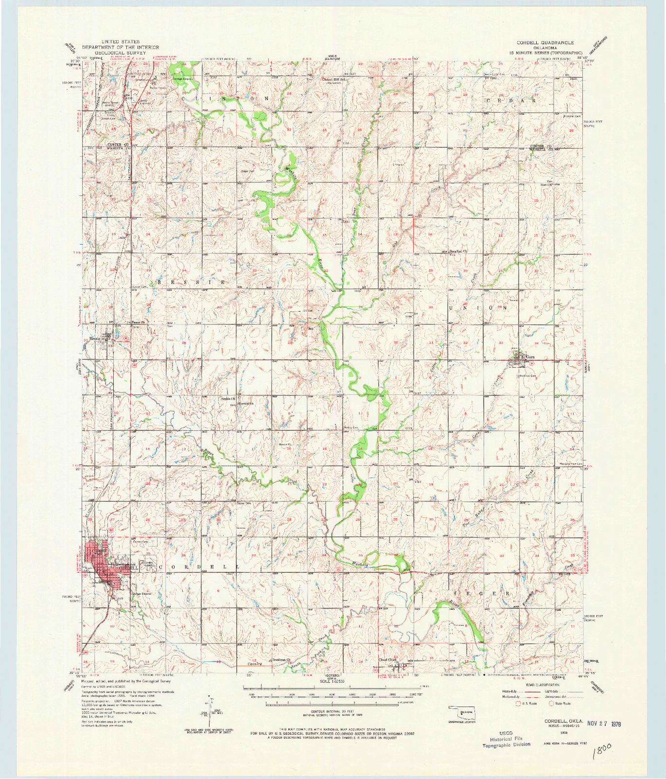 USGS 1:62500-SCALE QUADRANGLE FOR CORDELL, OK 1956