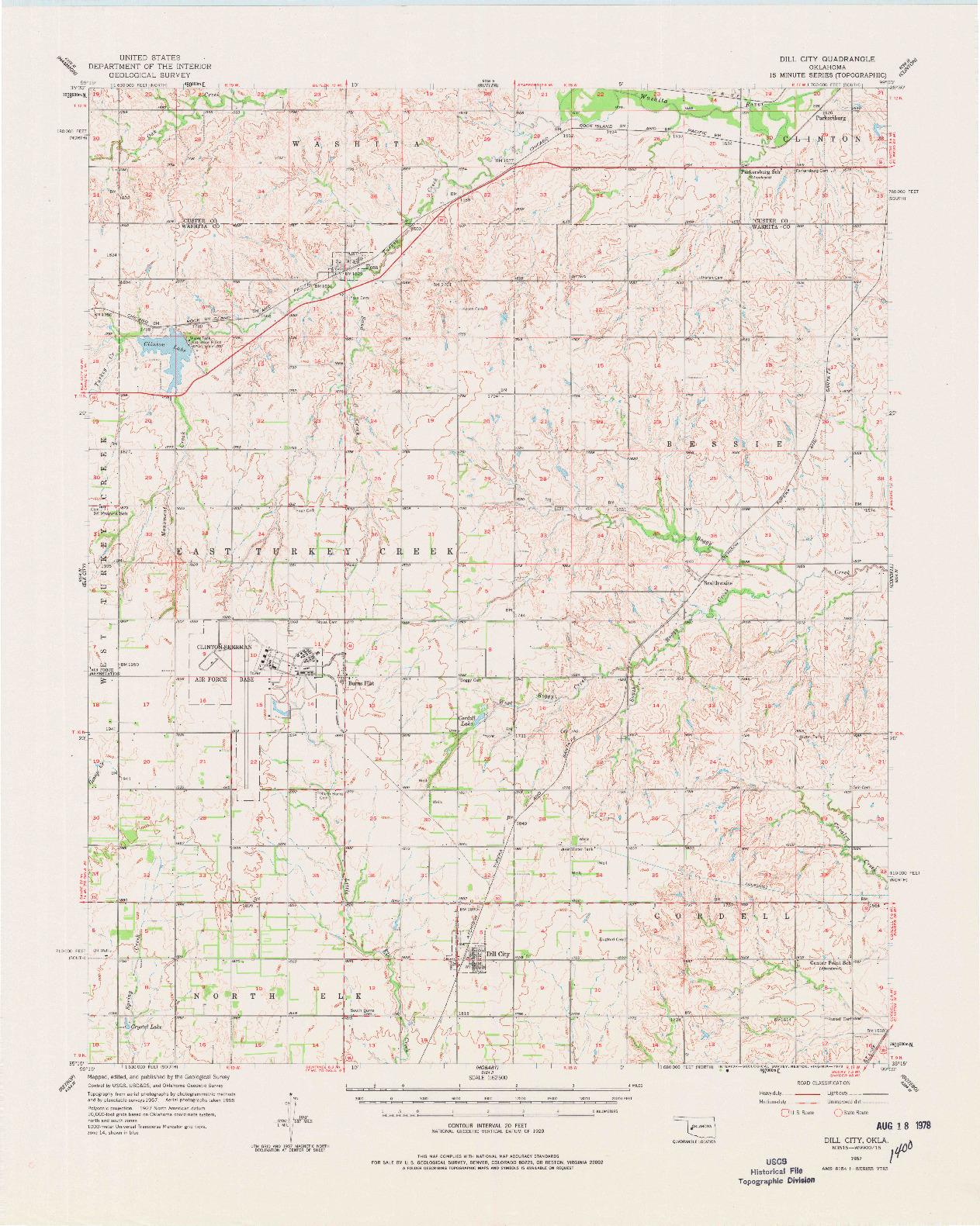 USGS 1:62500-SCALE QUADRANGLE FOR DILL CITY, OK 1957