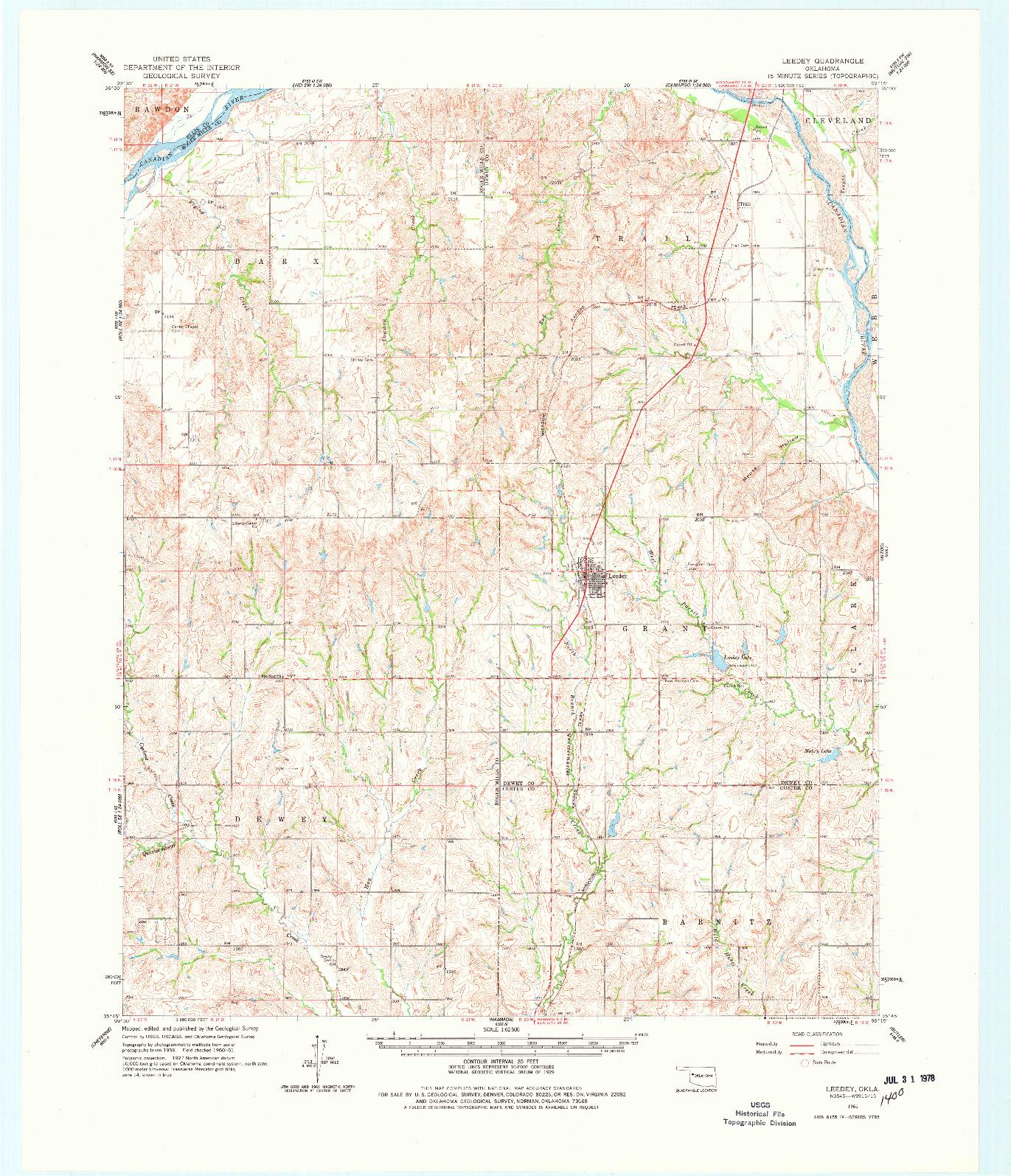 USGS 1:62500-SCALE QUADRANGLE FOR LEEDEY, OK 1961