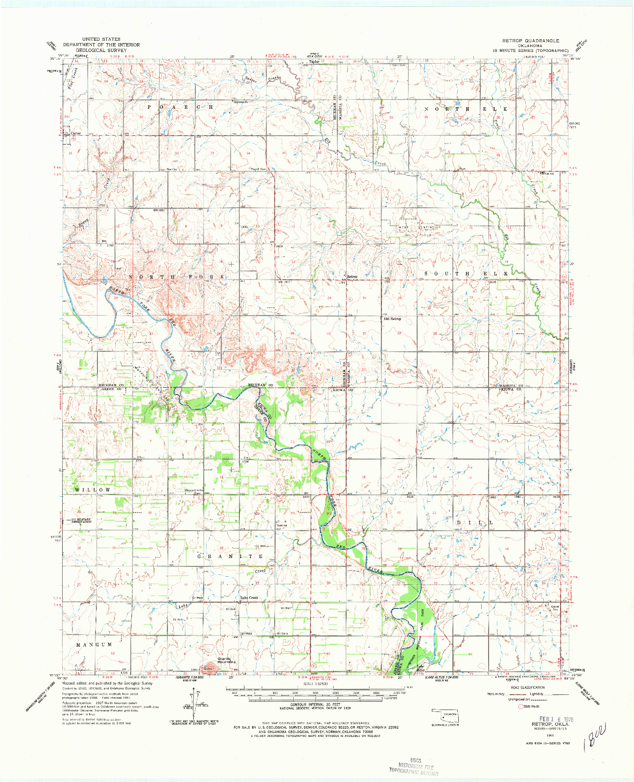 USGS 1:62500-SCALE QUADRANGLE FOR RETROP, OK 1961