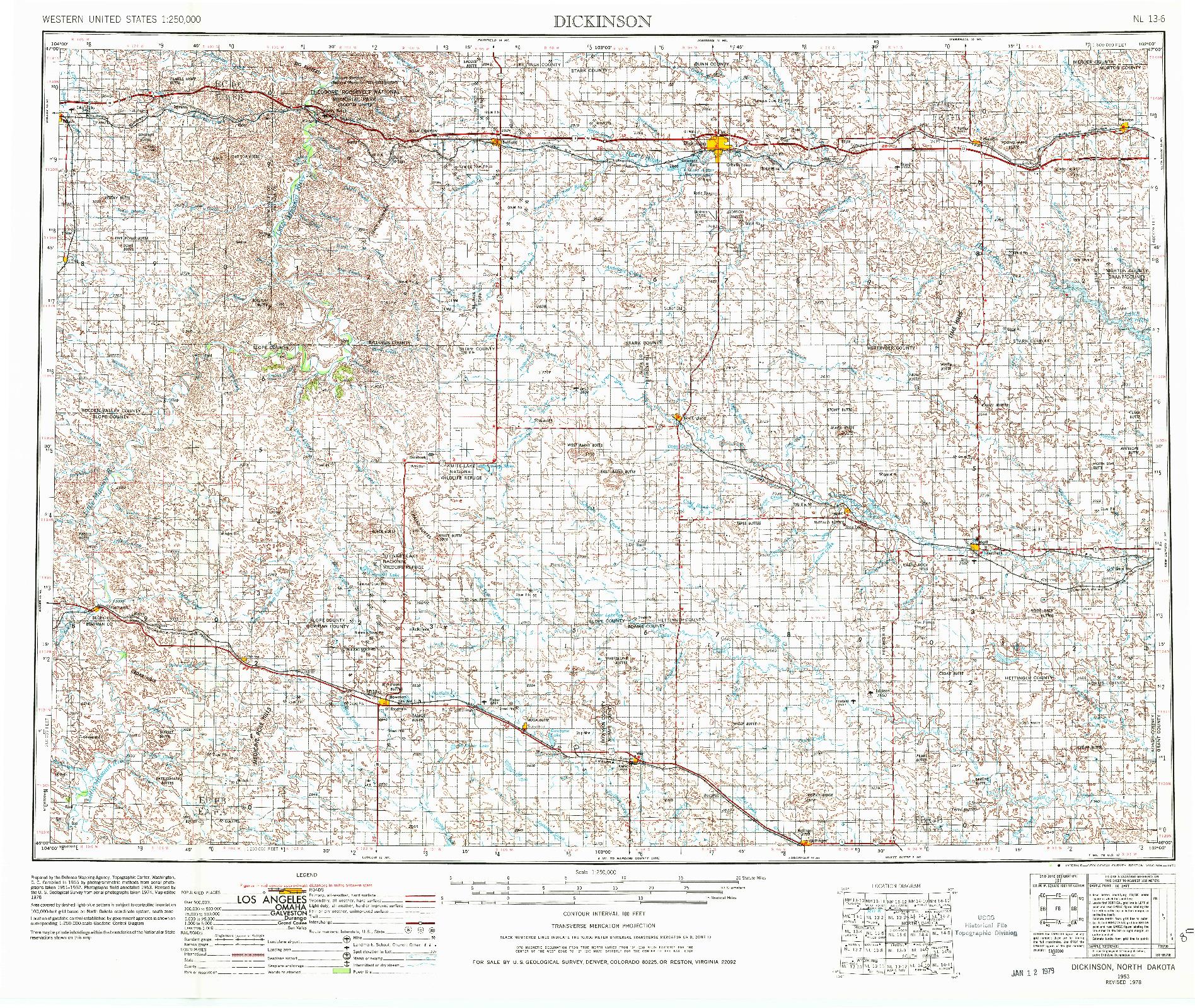 USGS 1:250000-SCALE QUADRANGLE FOR DICKINSON, ND 1953