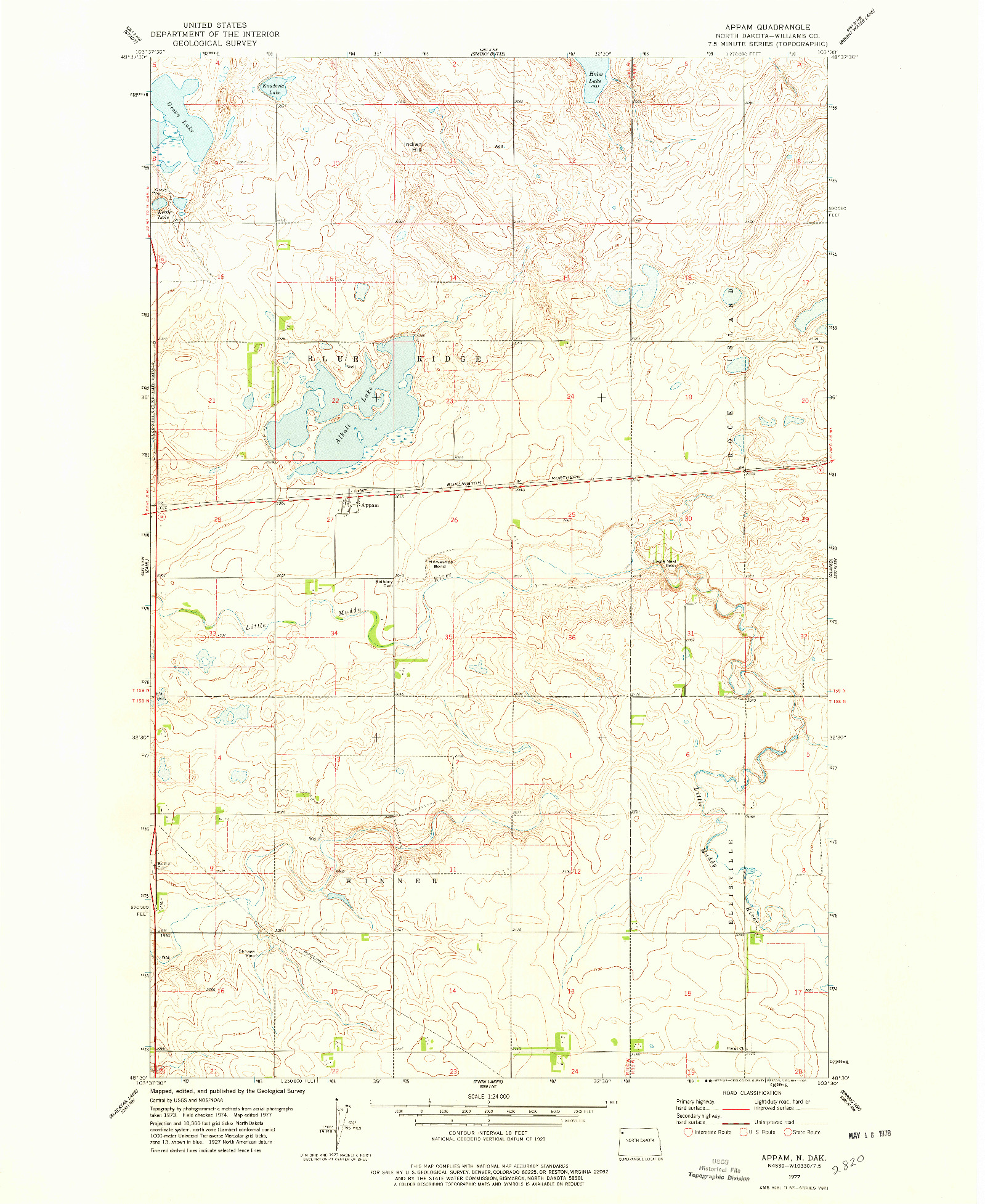 USGS 1:24000-SCALE QUADRANGLE FOR APPAM, ND 1977