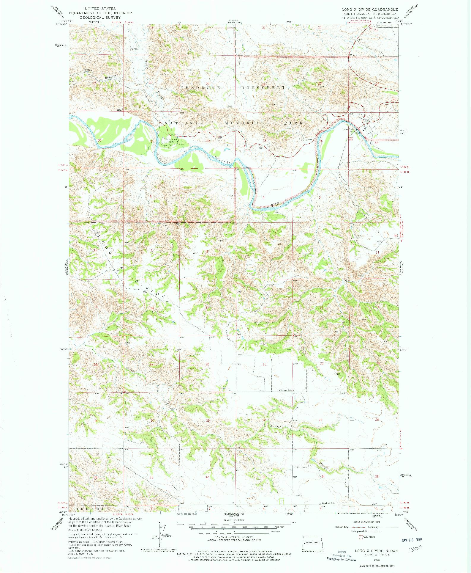 USGS 1:24000-SCALE QUADRANGLE FOR LONG X DIVIDE, ND 1958