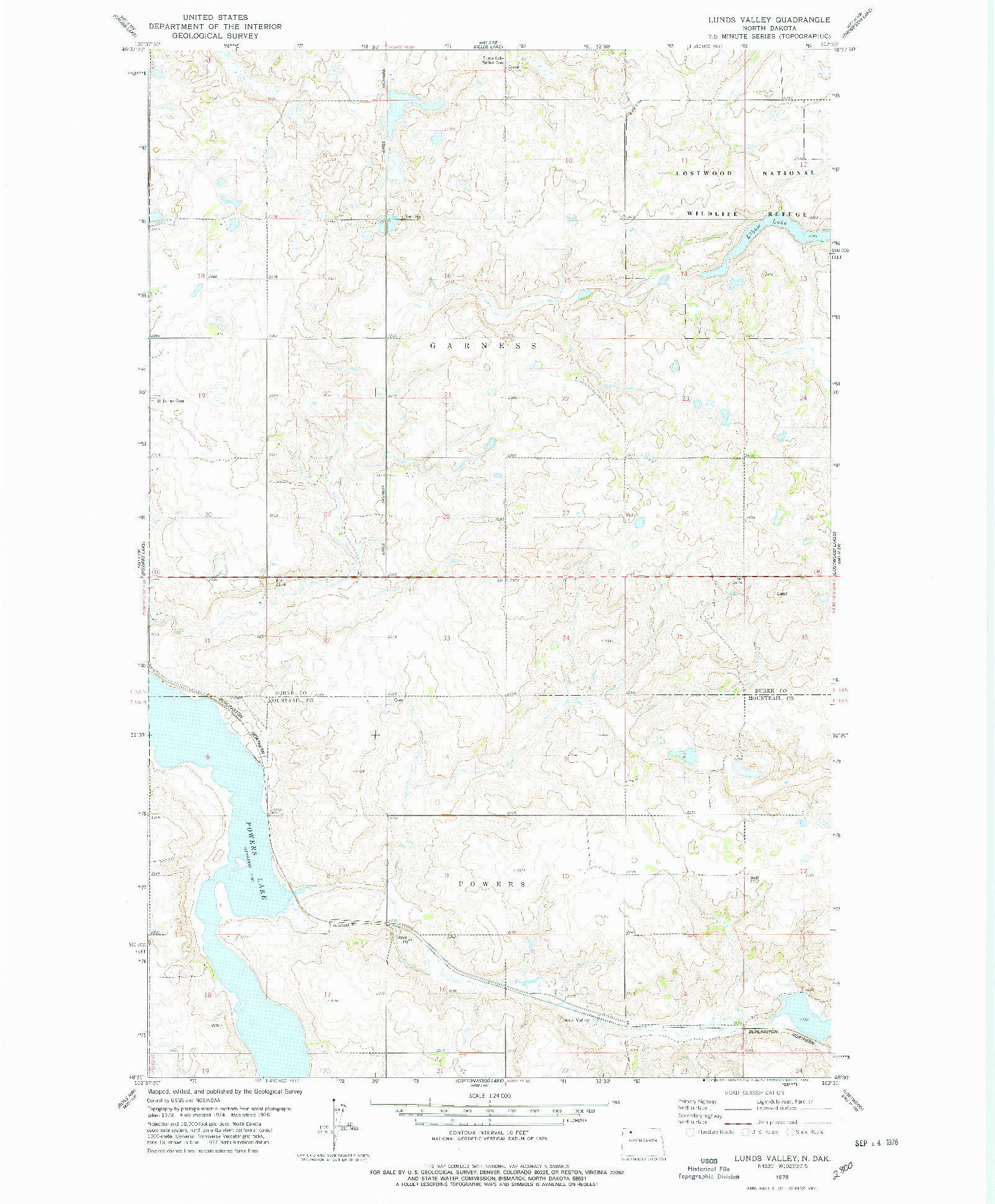 USGS 1:24000-SCALE QUADRANGLE FOR LUNDS VALLEY, ND 1978