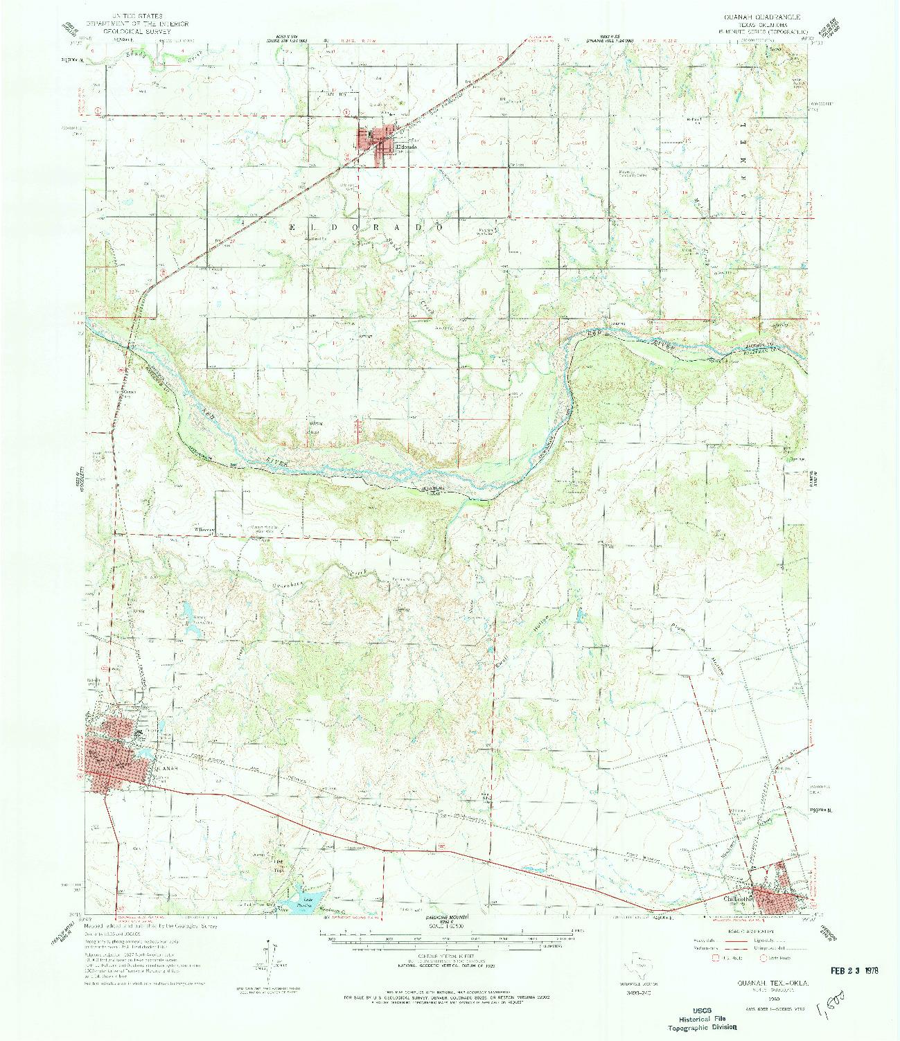 USGS 1:62500-SCALE QUADRANGLE FOR QUANAH, TX 1960
