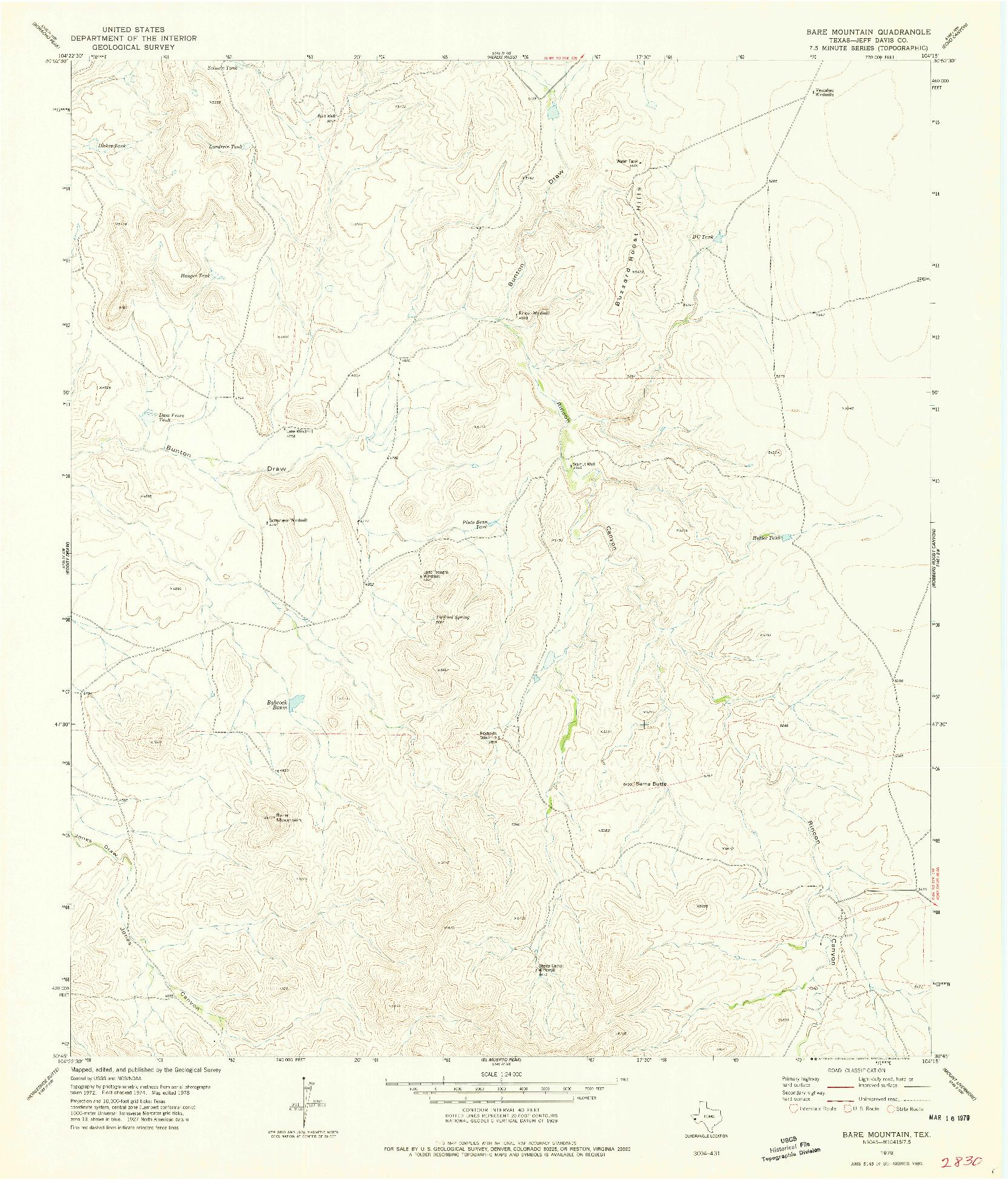 USGS 1:24000-SCALE QUADRANGLE FOR BARE MOUNTAIN, TX 1978