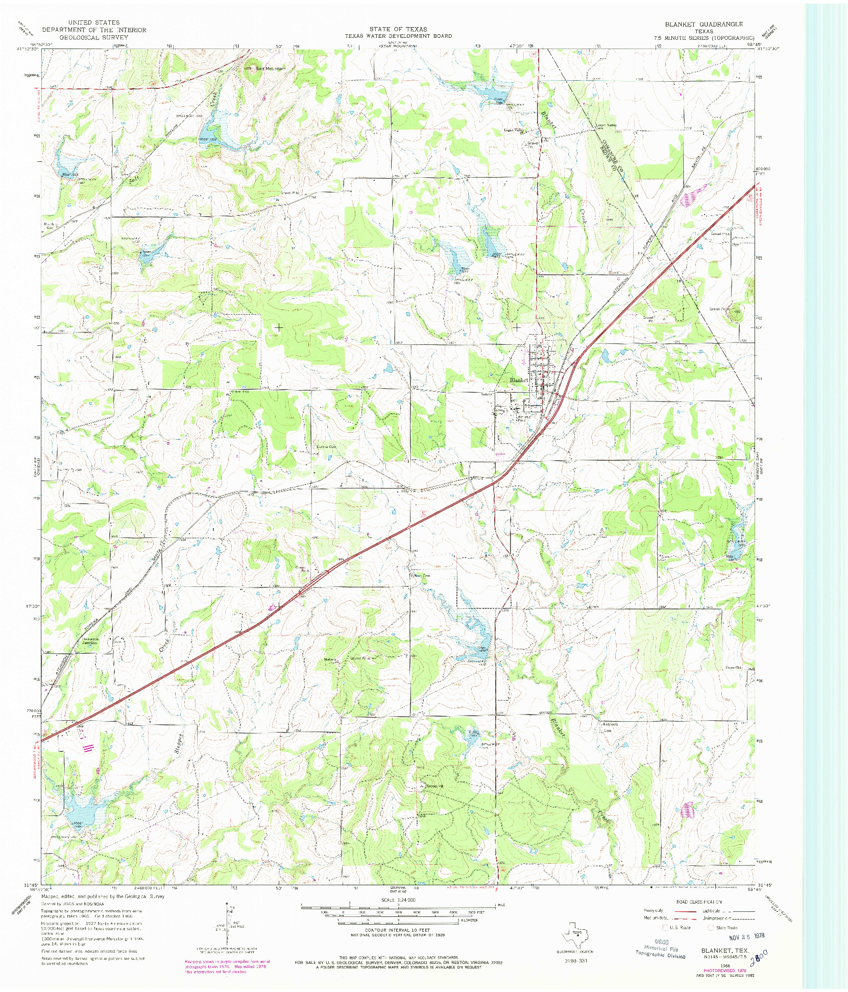 USGS 1:24000-SCALE QUADRANGLE FOR BLANKET, TX 1966