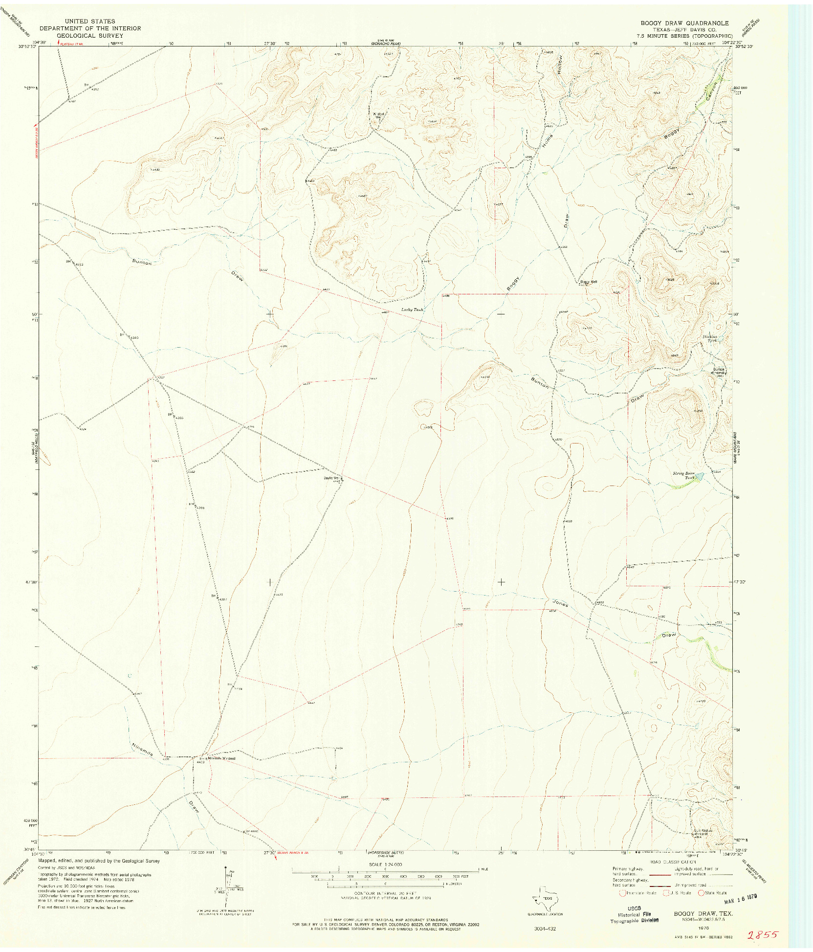 USGS 1:24000-SCALE QUADRANGLE FOR BOGGY DRAW, TX 1978