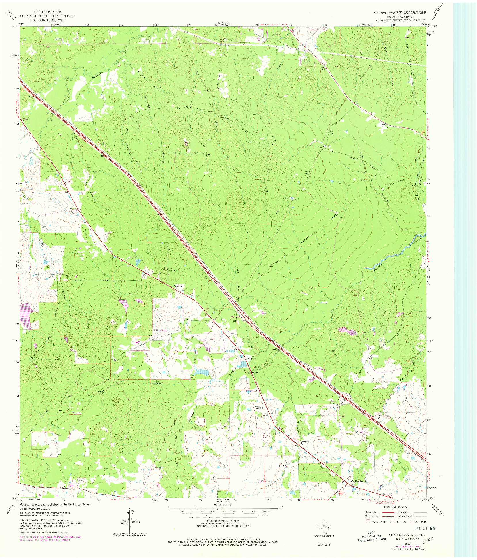 USGS 1:24000-SCALE QUADRANGLE FOR CRABBS PRAIRIE, TX 1963