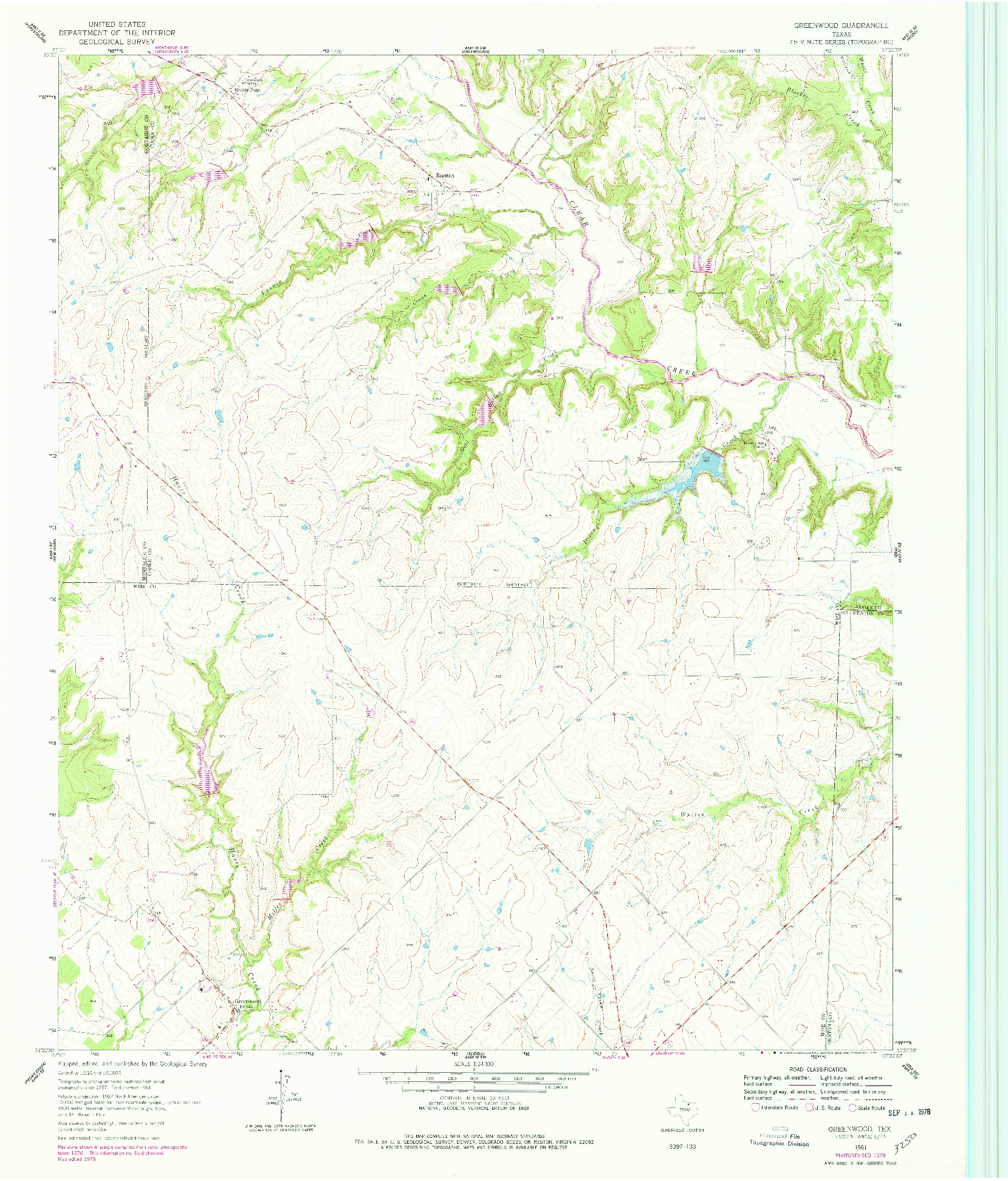 USGS 1:24000-SCALE QUADRANGLE FOR GREENWOOD, TX 1961