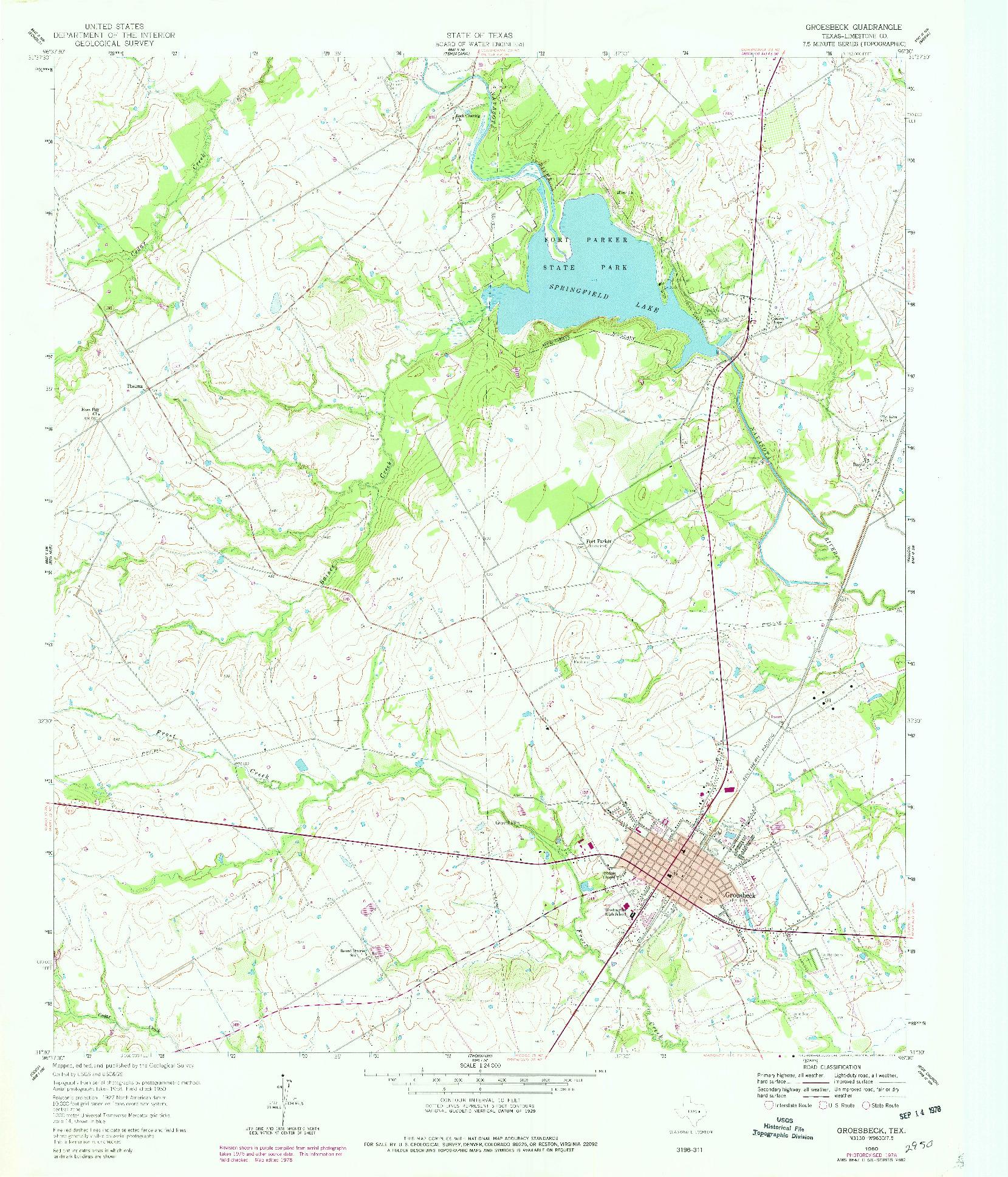 USGS 1:24000-SCALE QUADRANGLE FOR GROESBECK, TX 1960
