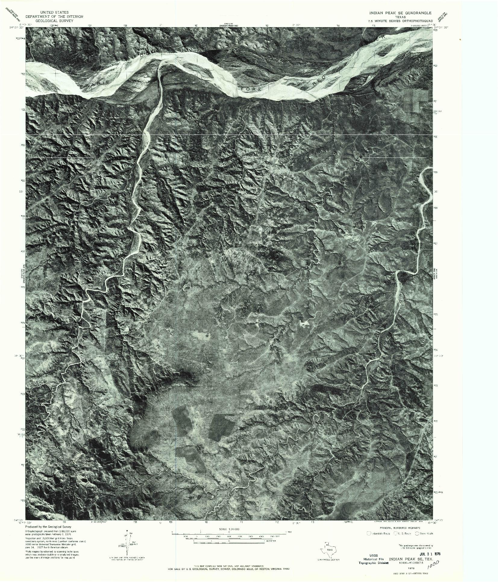 USGS 1:24000-SCALE QUADRANGLE FOR INDIAN PEAK SE, TX 1976