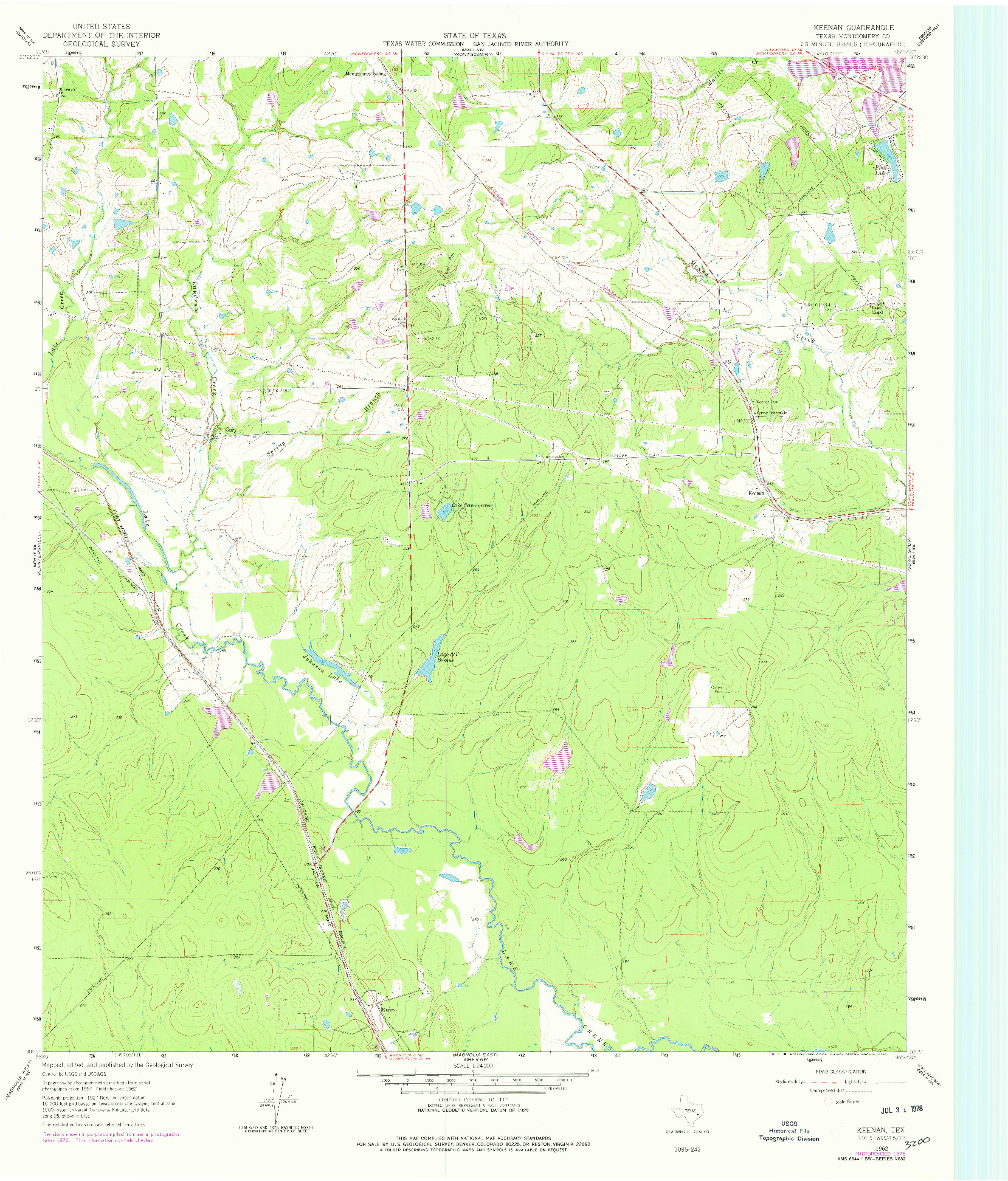 USGS 1:24000-SCALE QUADRANGLE FOR KEENAN, TX 1962