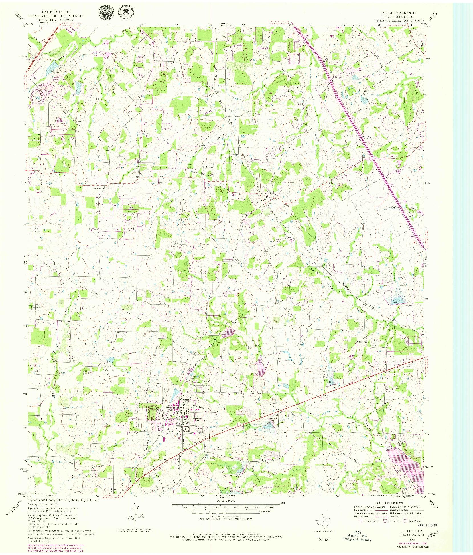 USGS 1:24000-SCALE QUADRANGLE FOR KEENE, TX 1960