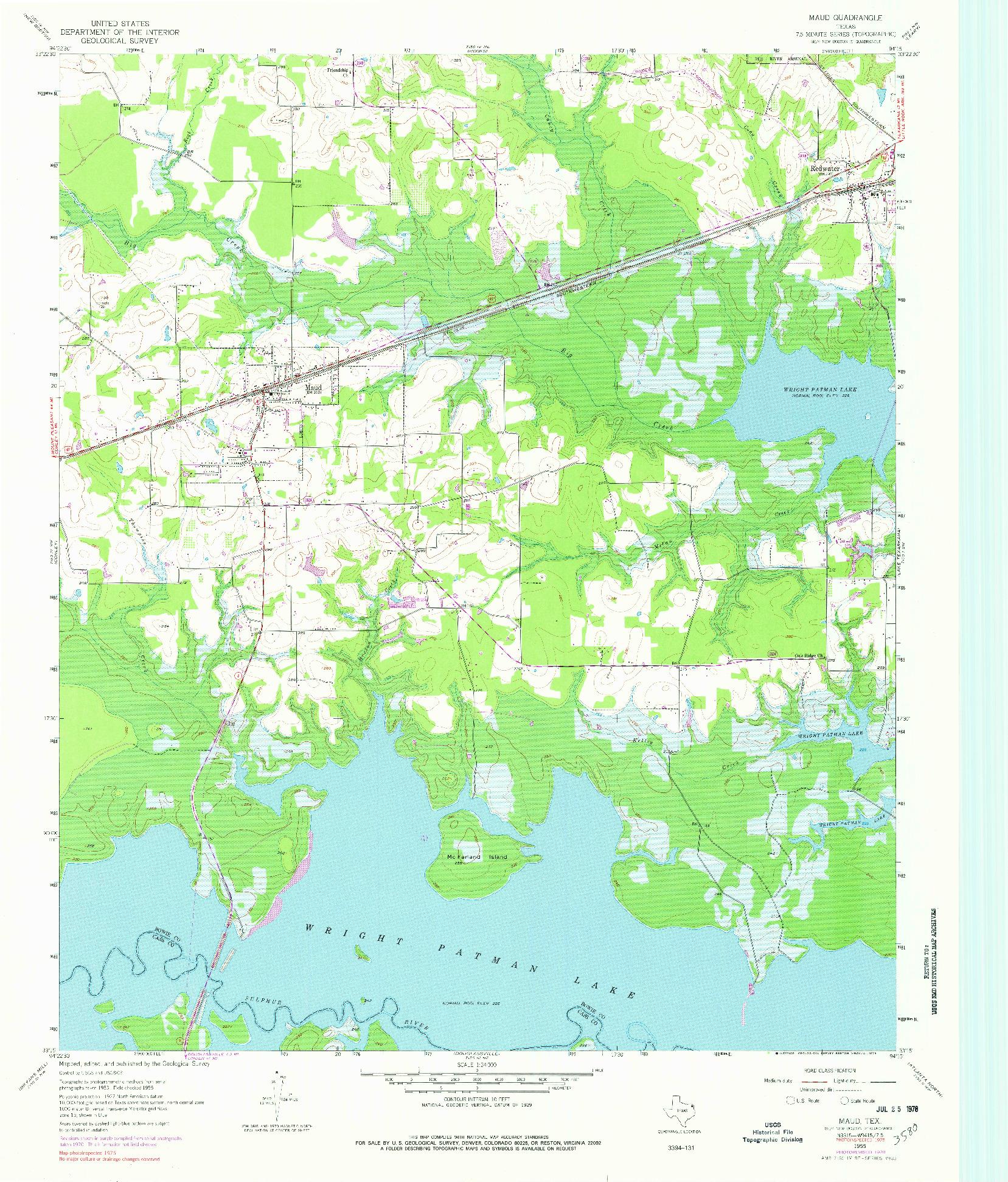 USGS 1:24000-SCALE QUADRANGLE FOR MAUD, TX 1955
