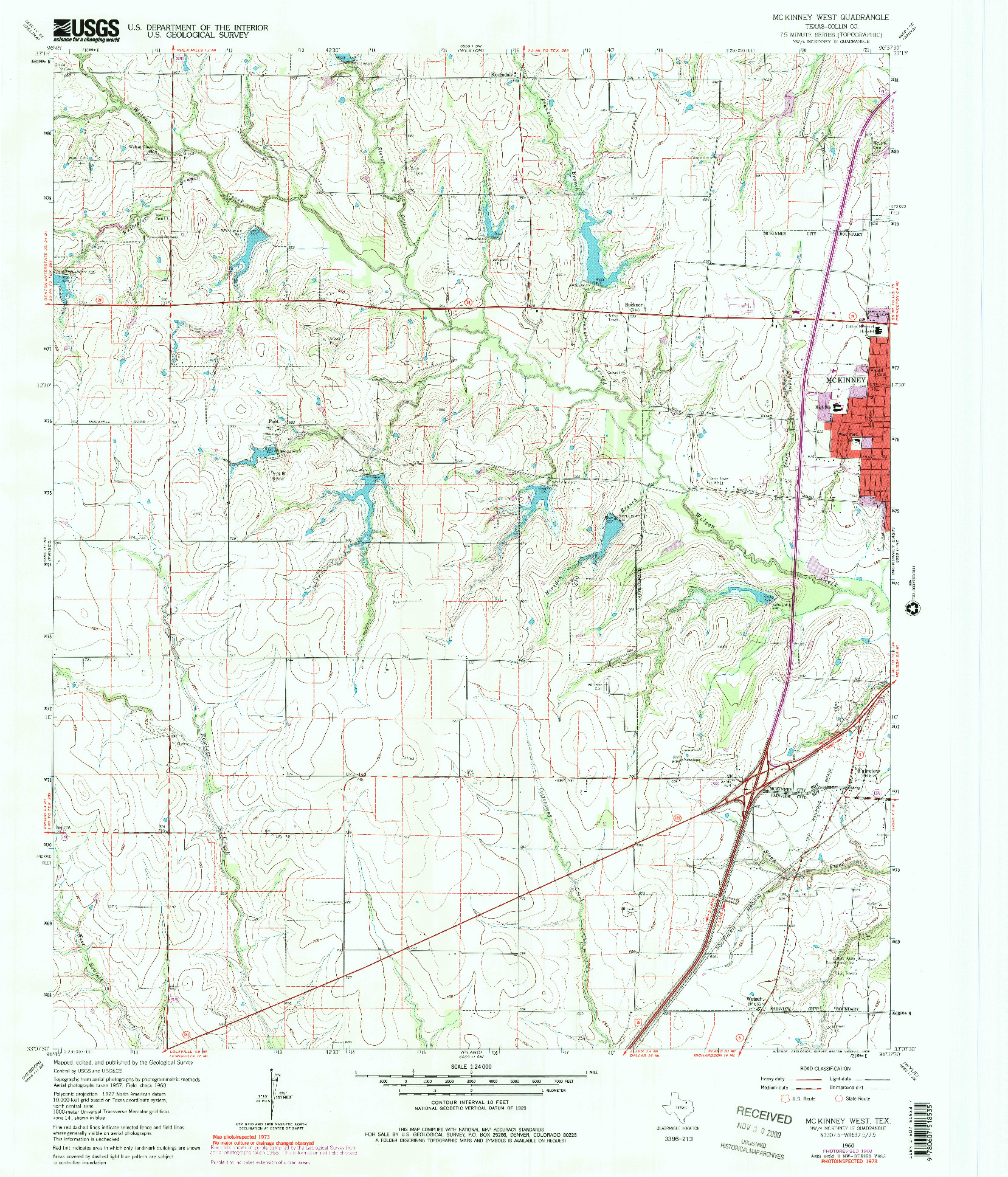 USGS 1:24000-SCALE QUADRANGLE FOR MCKINNEY WEST, TX 1960