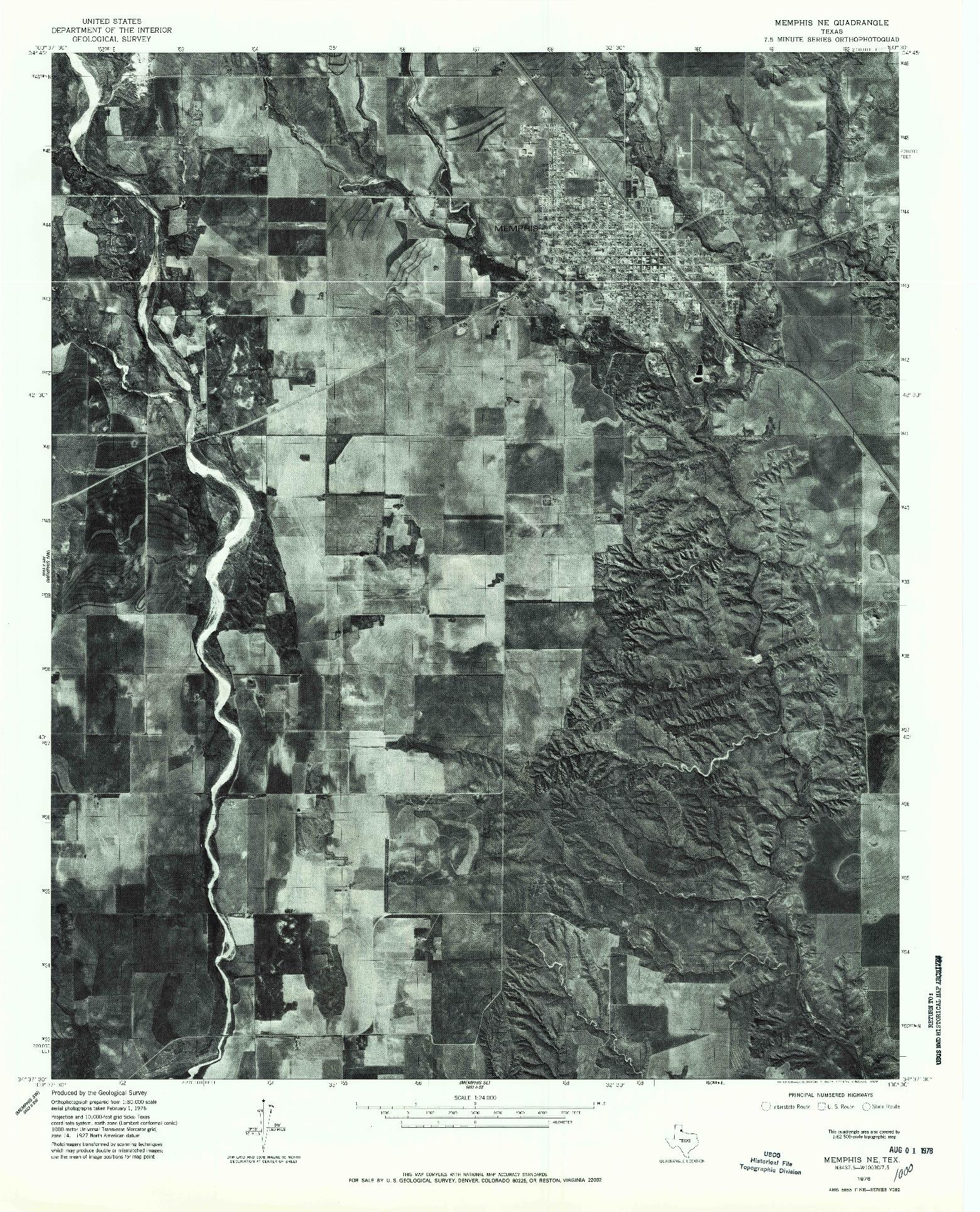 USGS 1:24000-SCALE QUADRANGLE FOR MEMPHIS NE, TX 1976