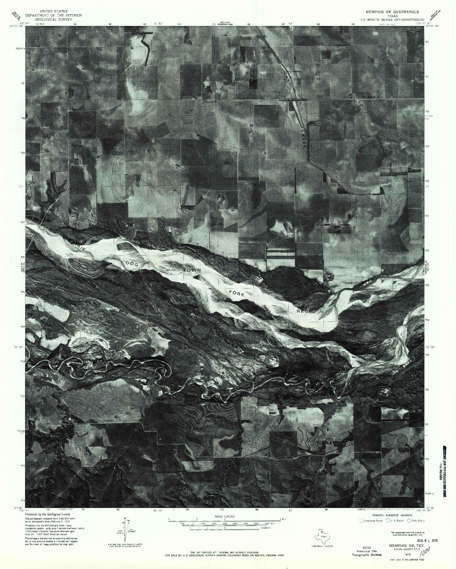 USGS 1:24000-SCALE QUADRANGLE FOR MEMPHIS SW, TX 1976
