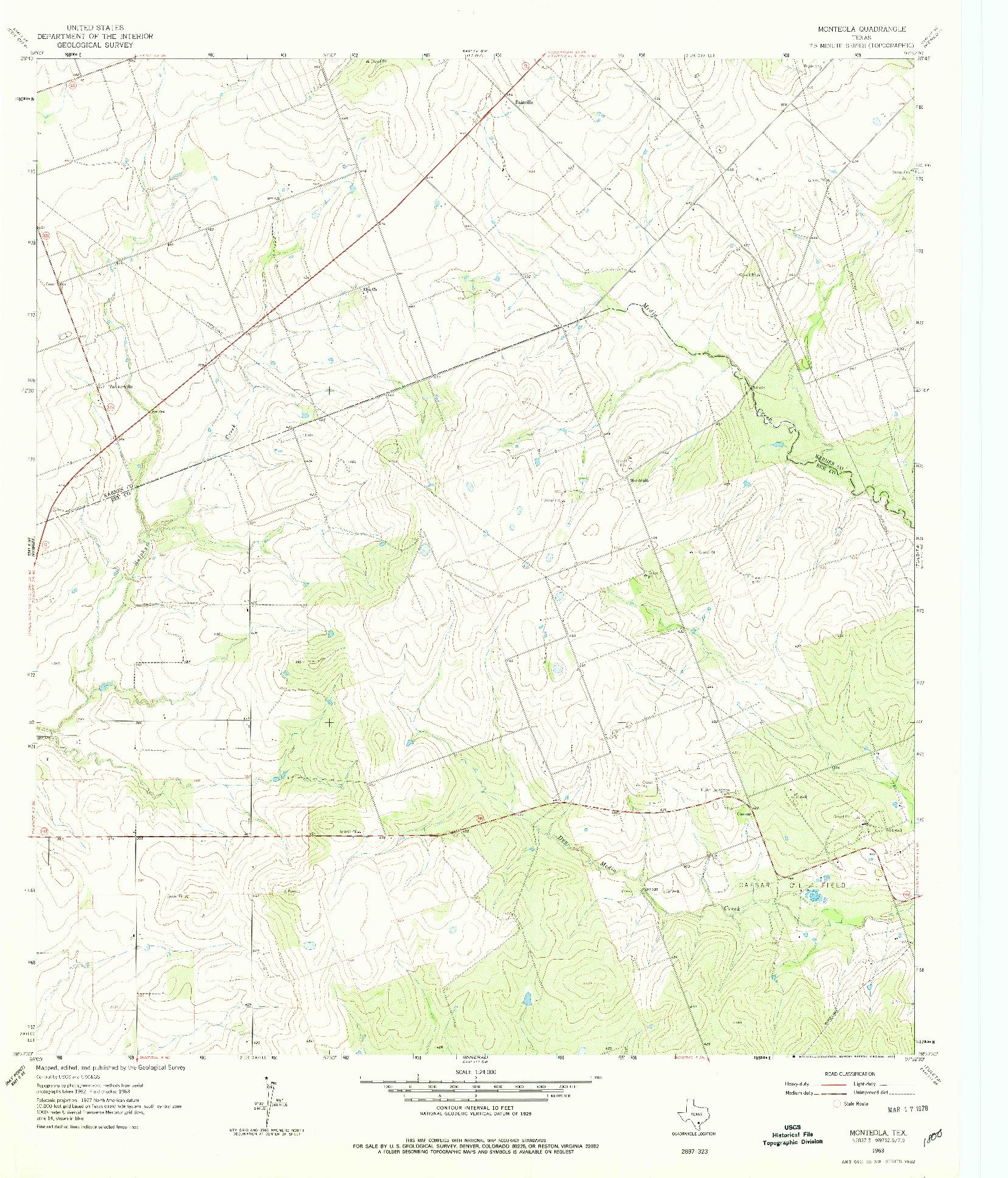 USGS 1:24000-SCALE QUADRANGLE FOR MONTEOLA, TX 1963