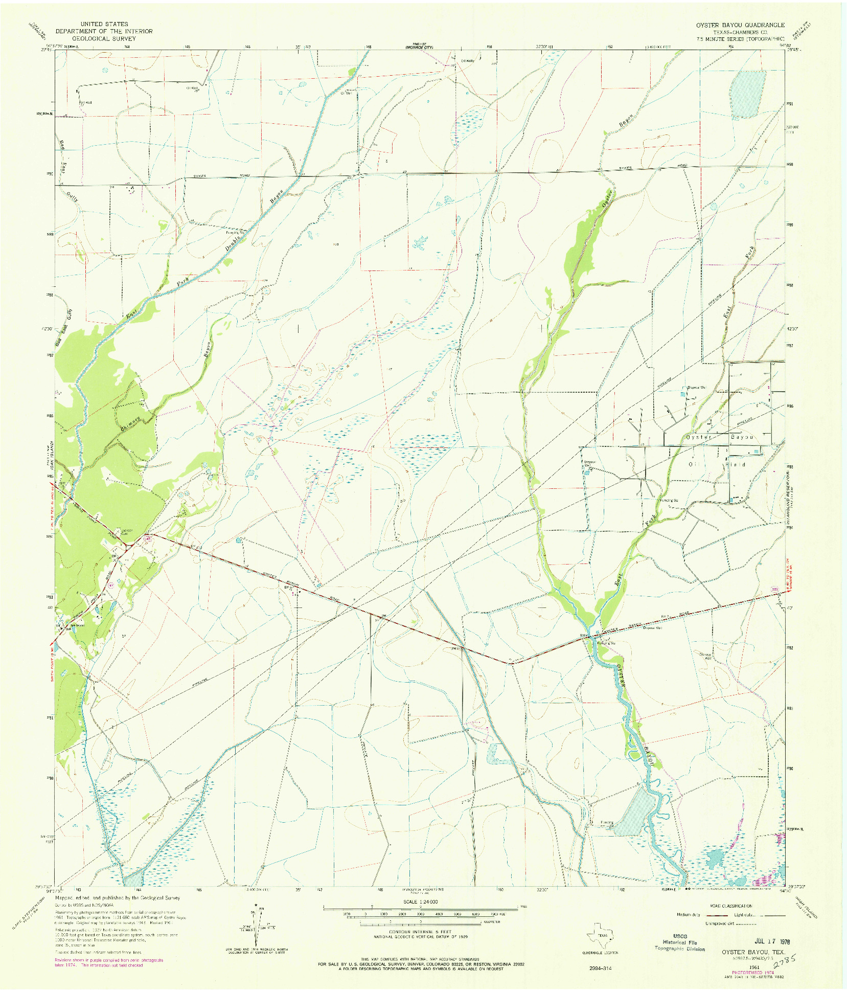 USGS 1:24000-SCALE QUADRANGLE FOR OYSTER BAYOU, TX 1961