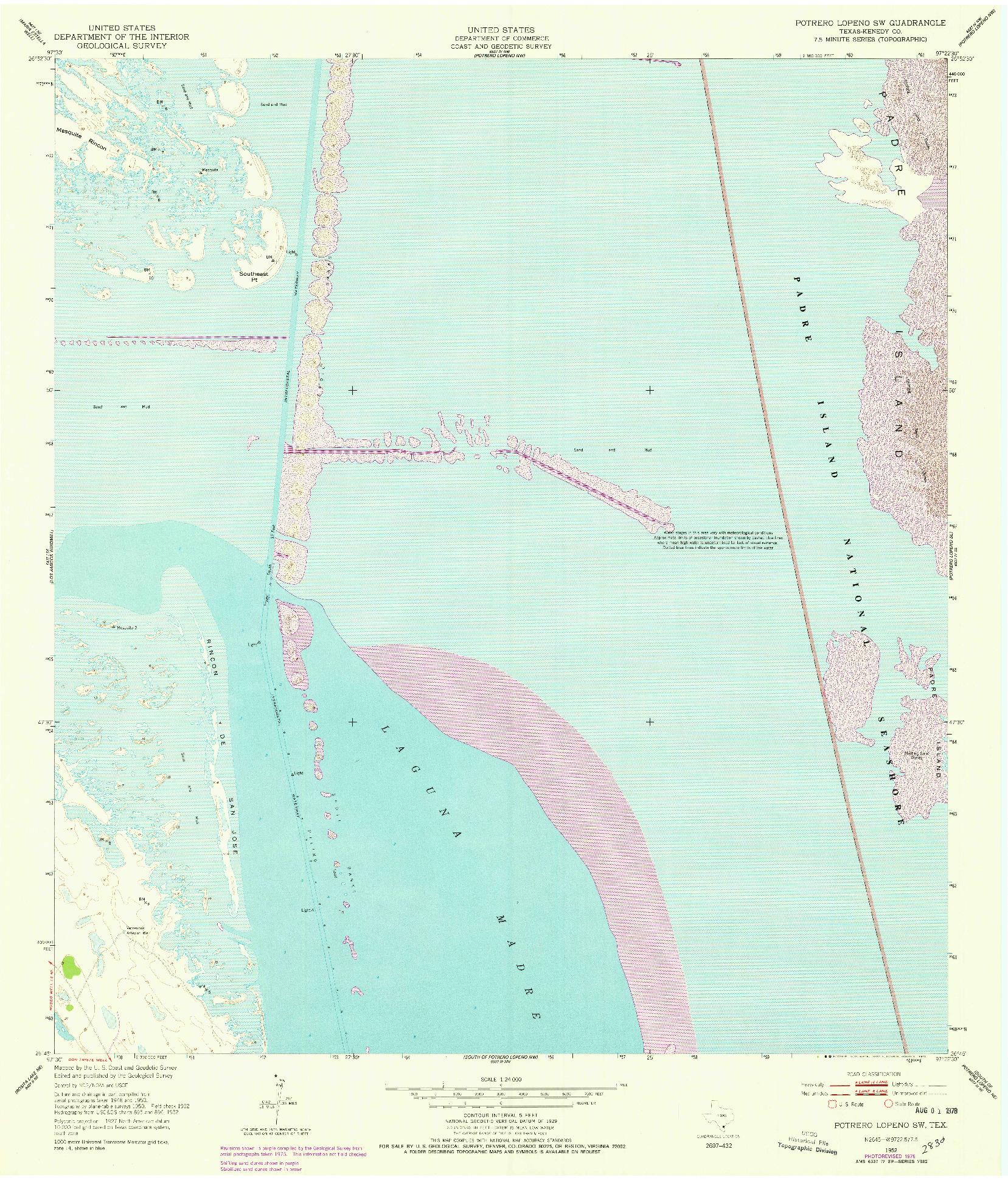 USGS 1:24000-SCALE QUADRANGLE FOR POTRERO LOPENO SW, TX 1952